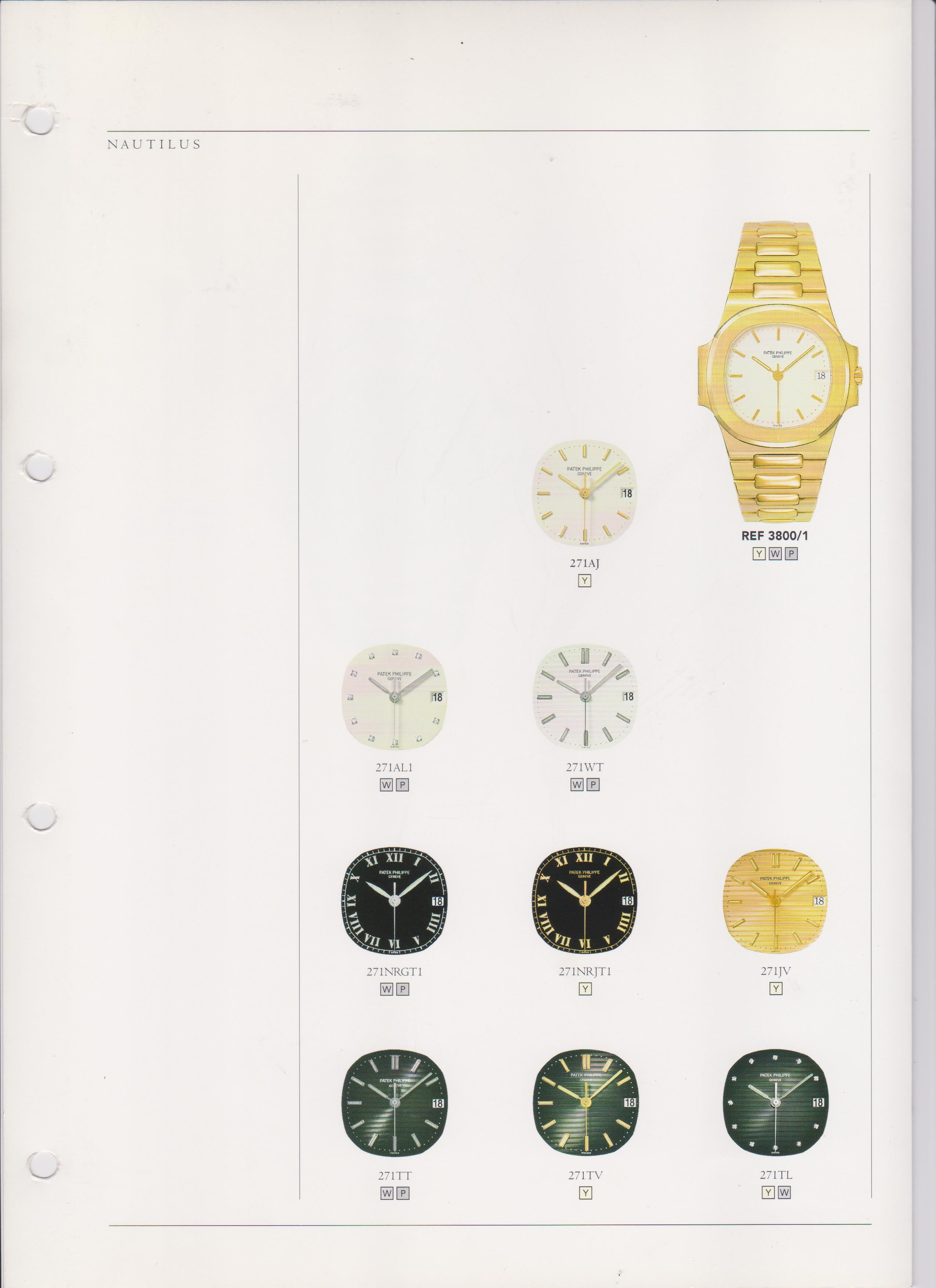 Patek Philippe Nautilus 3800 catalogue showing dial variations of yellow gold example from A Collected Man London