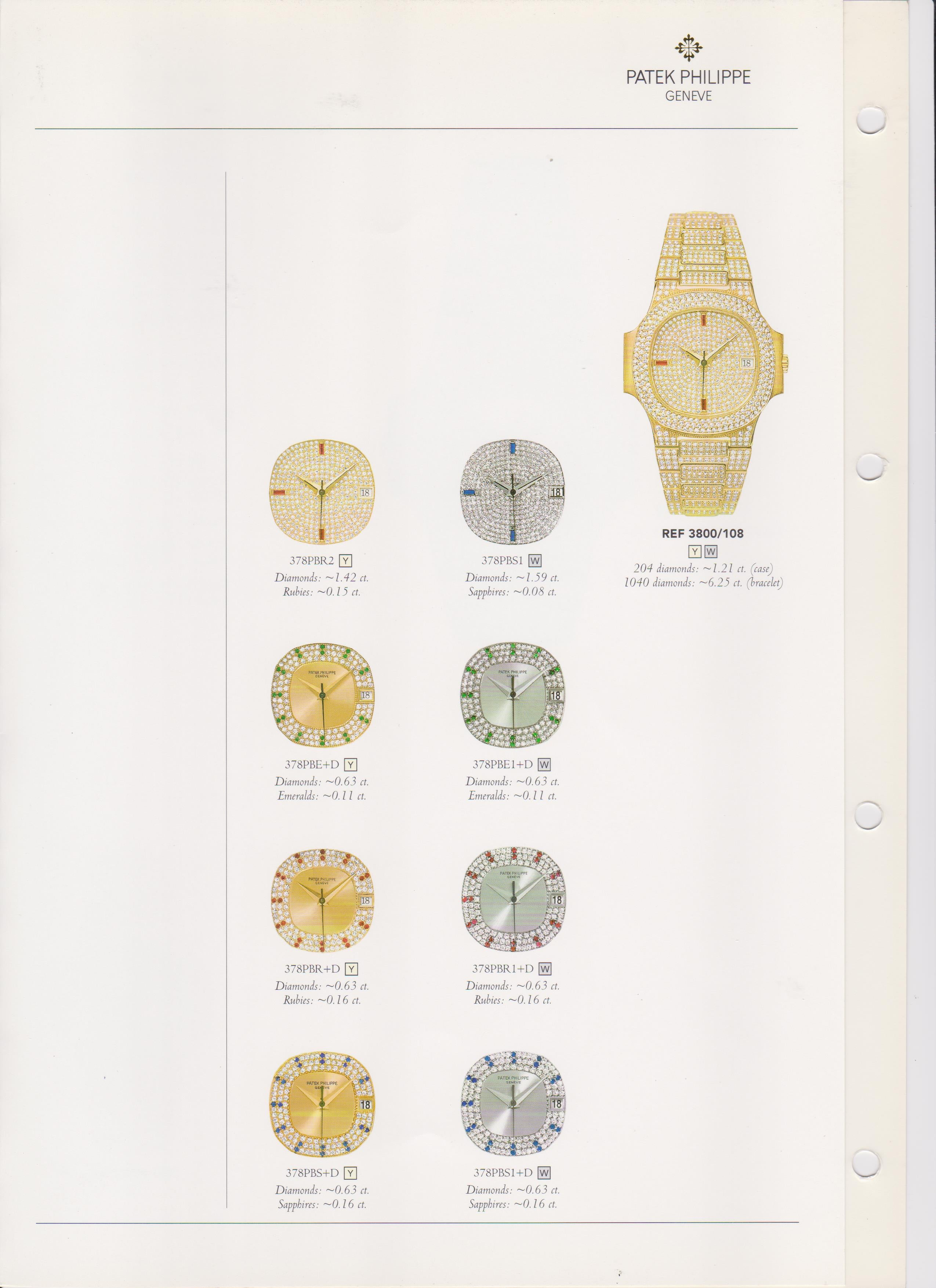 Patek Philippe Nautilus 3800 diamond dial options in 1999 sales catalogue from A Collected Man London
