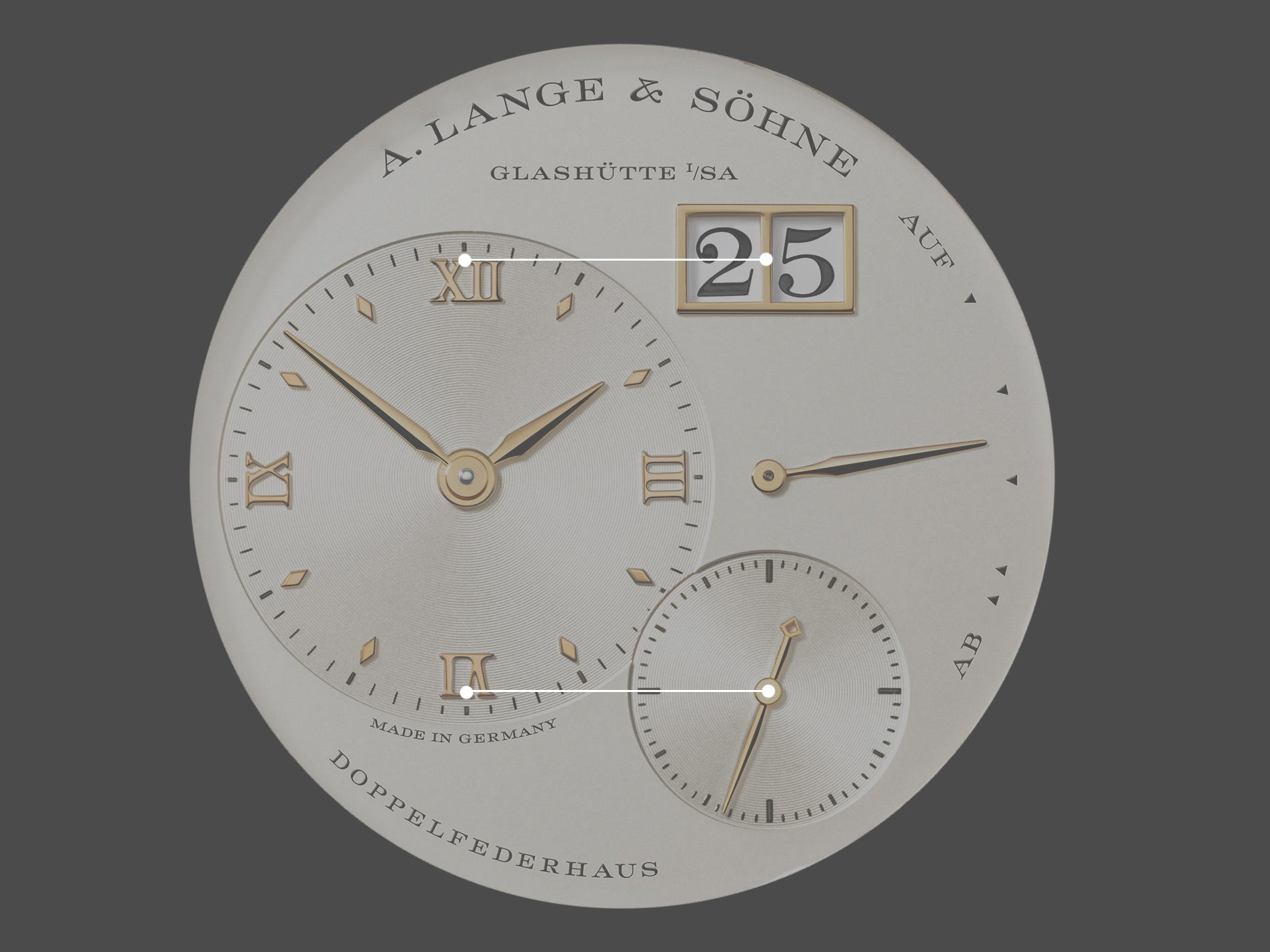 A. Lange & Söhne Lange 1 first edition dial highlighting the placement of sub-dials for A Collected Man London