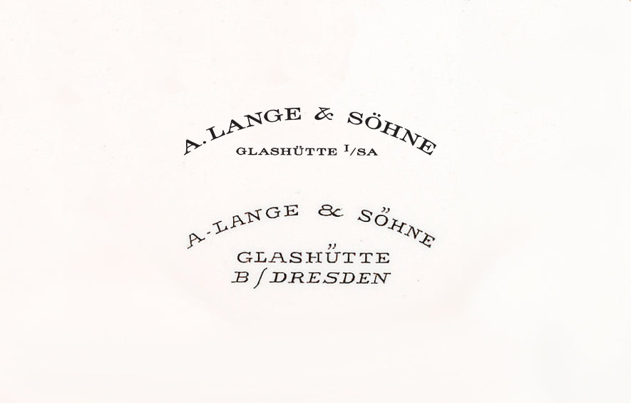 The modern and vintage versions of the A. Lange & Söhne wordmark that appeared on dials