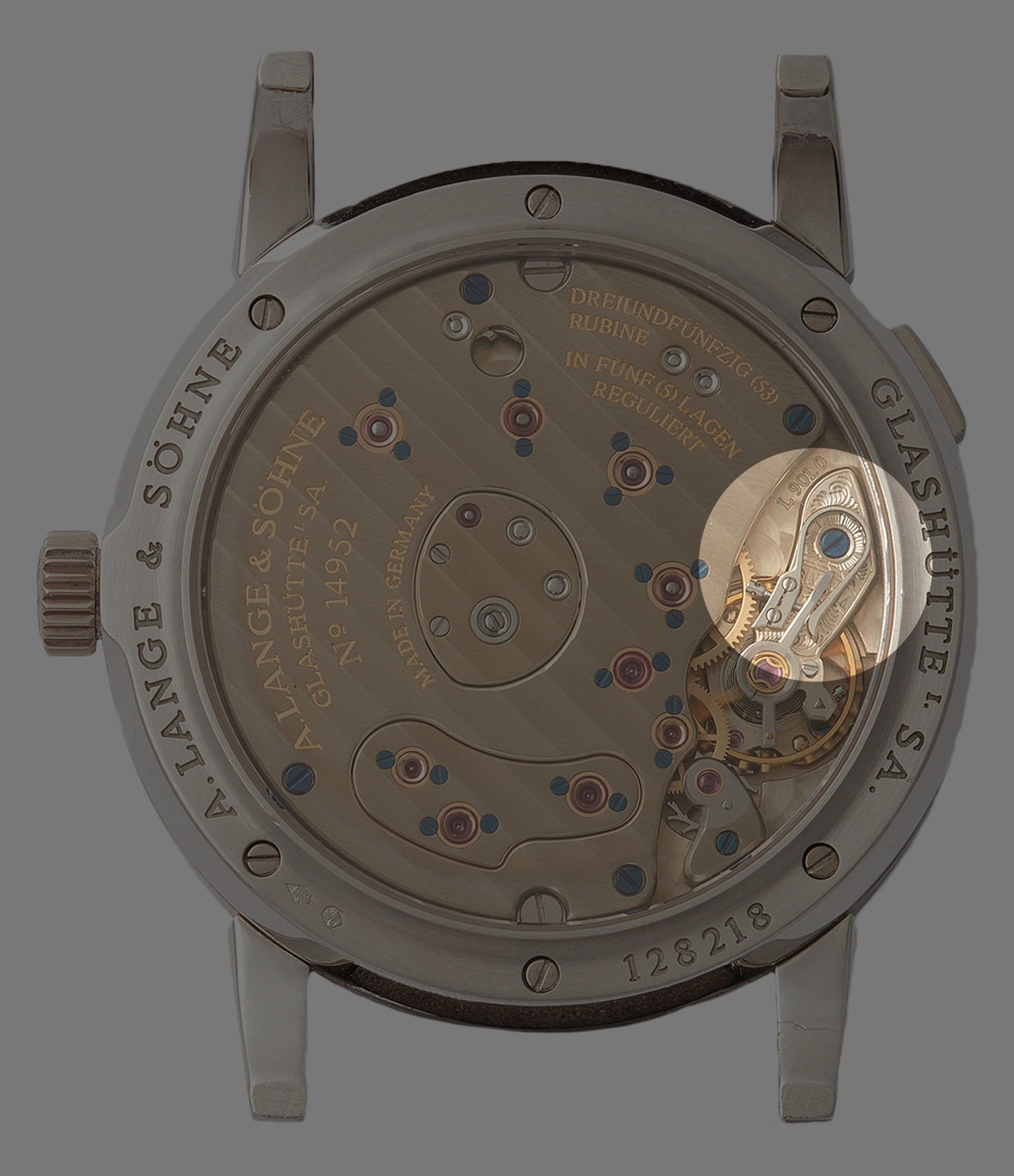 A. Lange & Söhne Lange 1 hange engrace balance cock in the movement for A Collected Man London