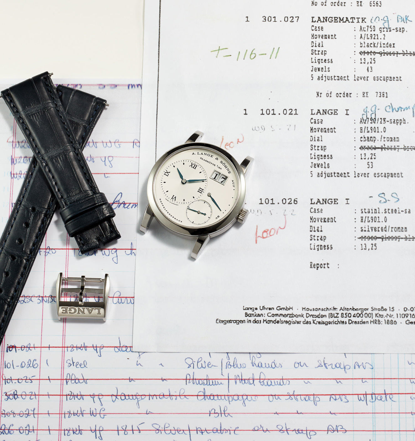 A. Lange & Söhne Lange 1 rare in steel NOS condition on paper work for A Collected Man London