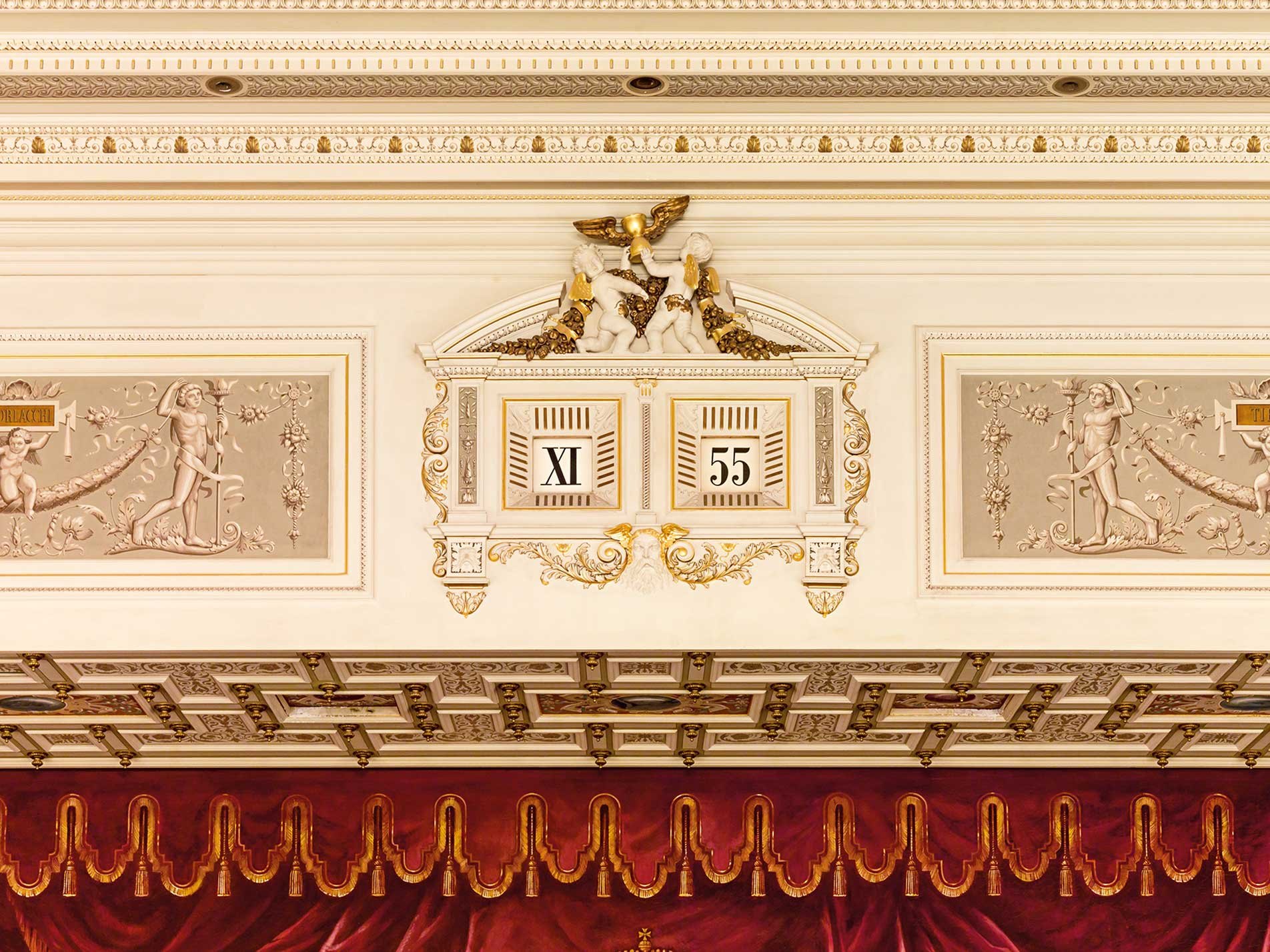 The five minute digital display clock above the stage at the Dresden Opera House for A Collected Man Lonodn