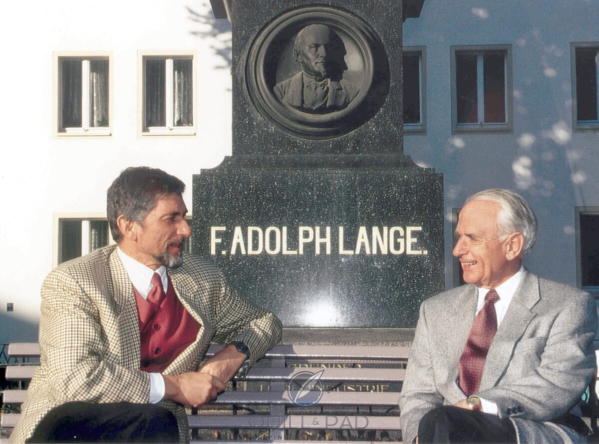 Blümlein and Walter Lange sat in front of a memorial to Walter's great-grandfather, Ferdinand Adolph Lange for A Collected Man London