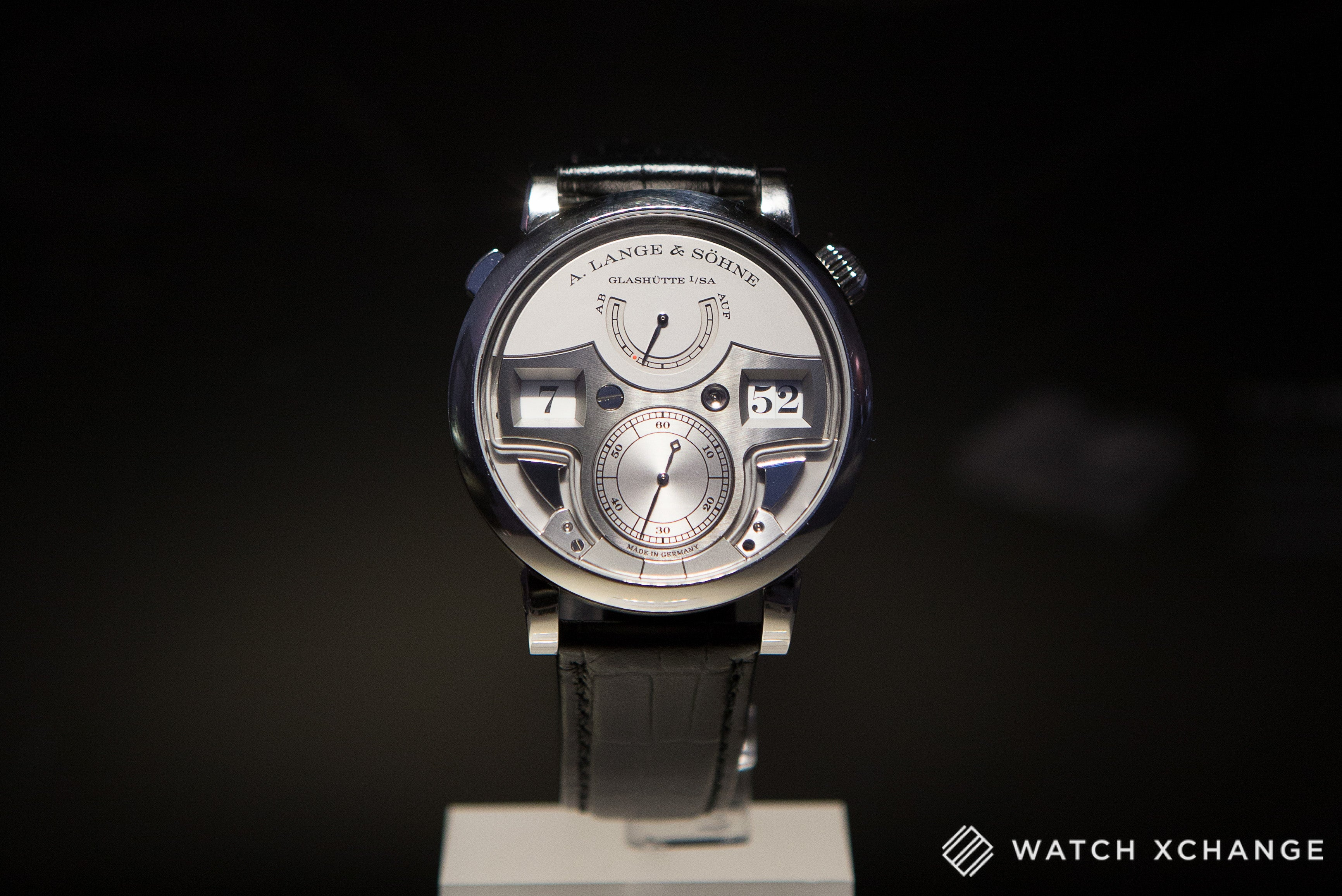 A. Lange & Sohne Zeitwerk minute repeater limited edition watch with white dial at Salon QP London 2015
