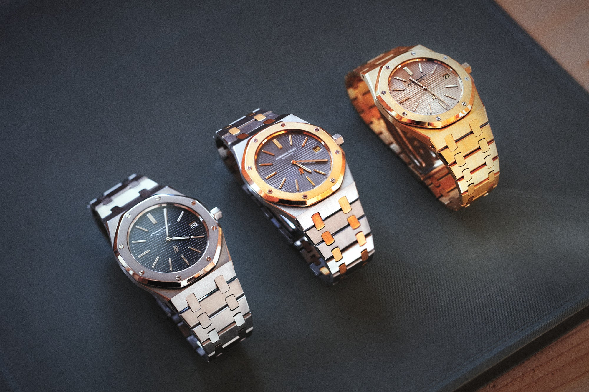 Three Audemars Piguet Royal Oak mid-sized in the Audemars Piguet museum in Le Brassus for A Collected Man London