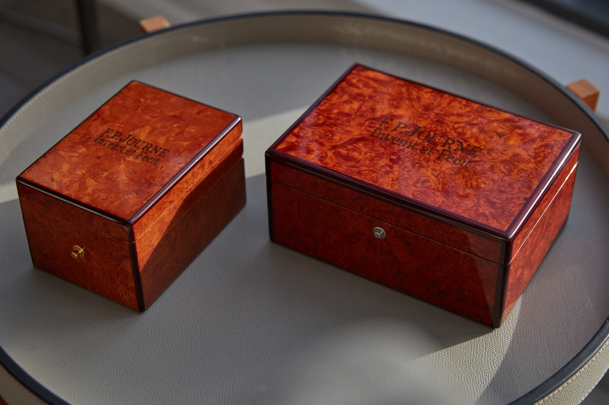 Two early F.P. Journe box styles as shot by A Collected Man London