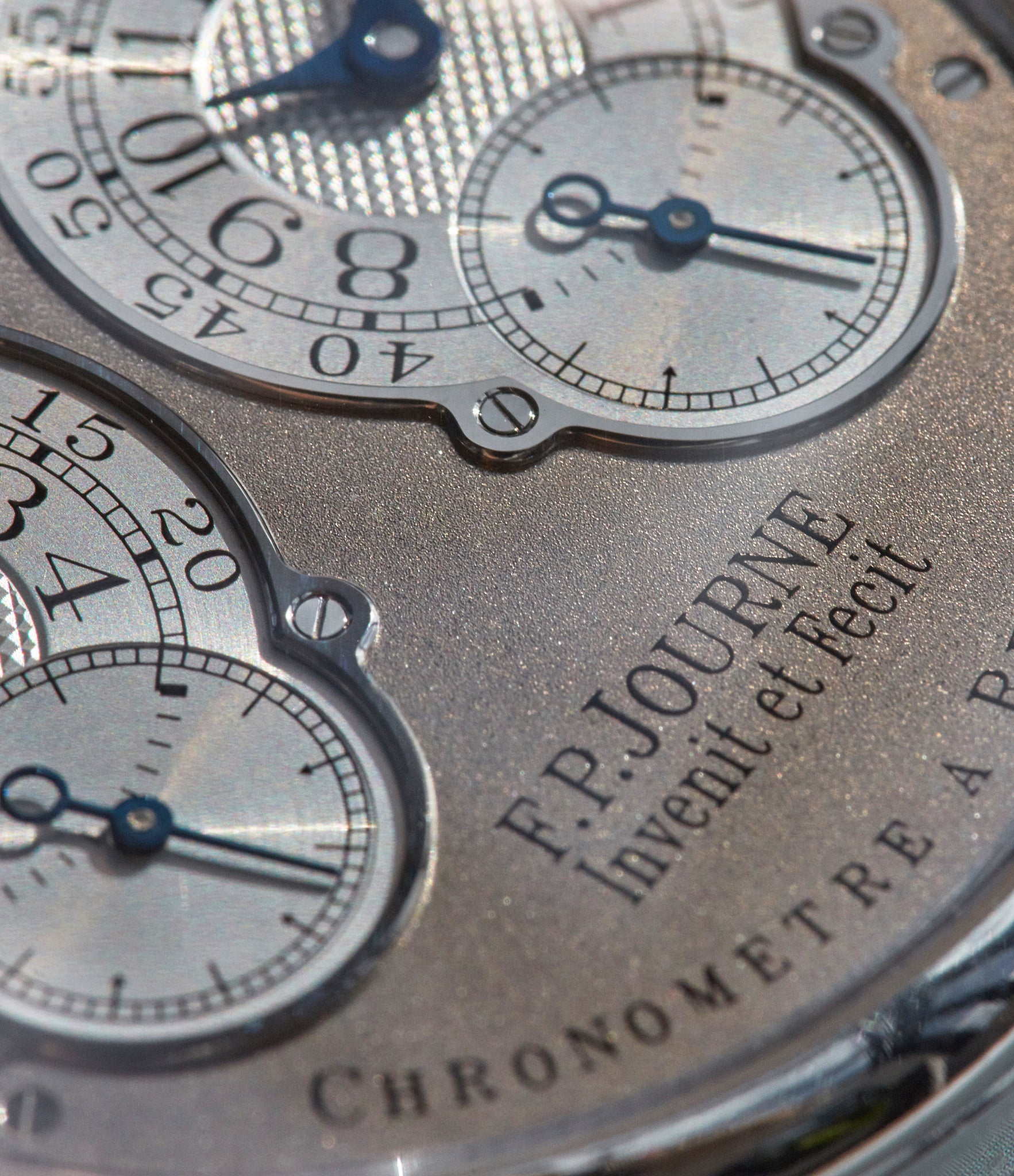 F.P Journe pre-Souscription Resonance showing thinner font and greater dial shimmer shot by A Collected Man London