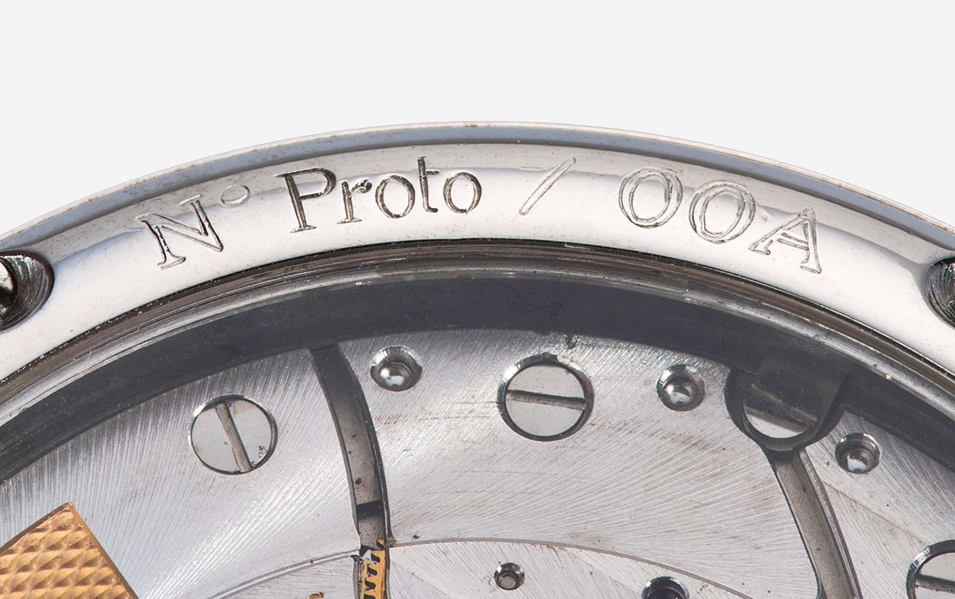 Shallow engraving on a prototype F.P. Journe Octa reserve de Marche