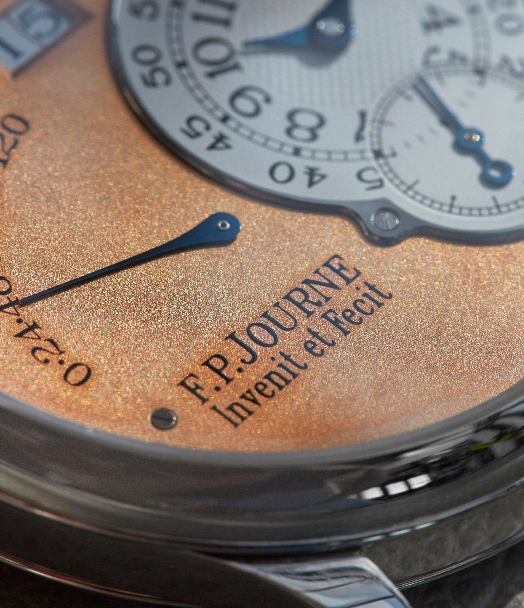 Details of an F.P. Journe Octa Reserve de Marche with straight line finishing shot by A Collected Man London