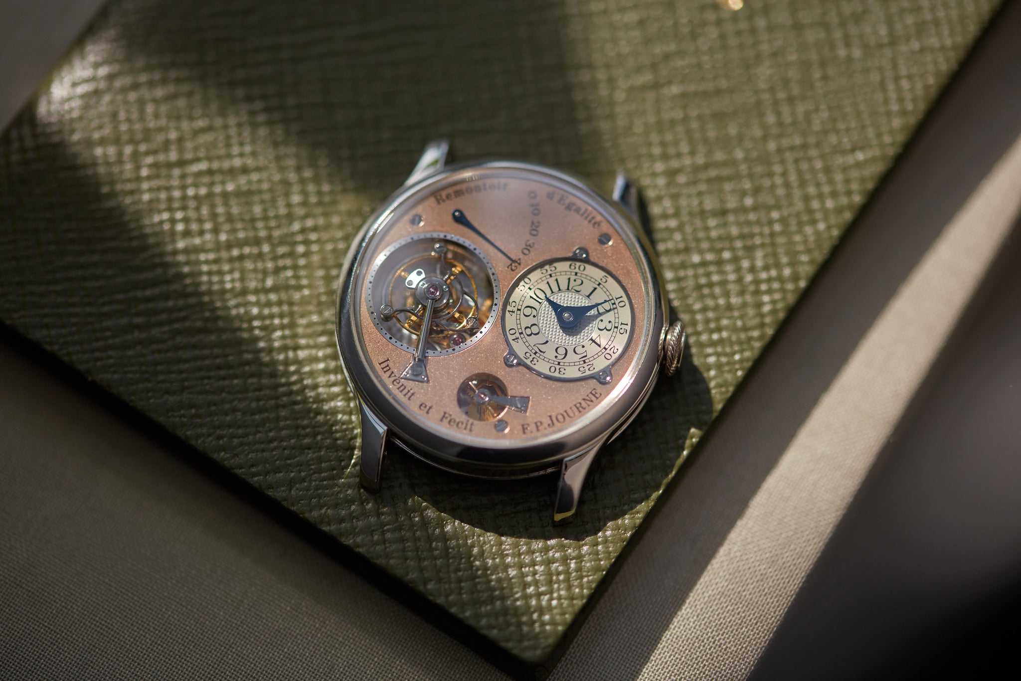 F.P. Journe Toubillon Souverain third generation with a rose dial shot by A Collected Man London