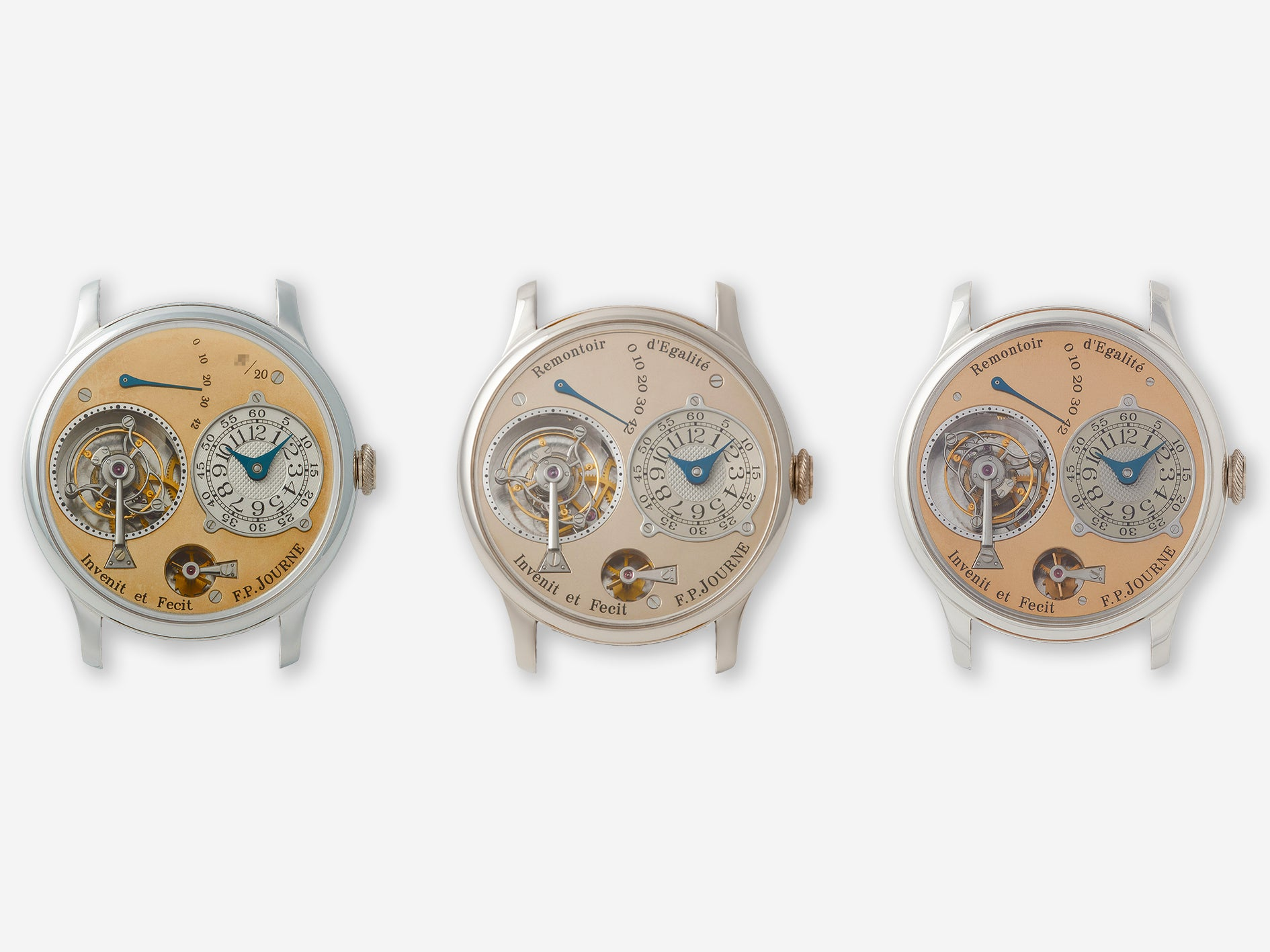 F.P. Journe Souscription Tourbillon, third generation Tourbillon and fourth generation Tourbillon