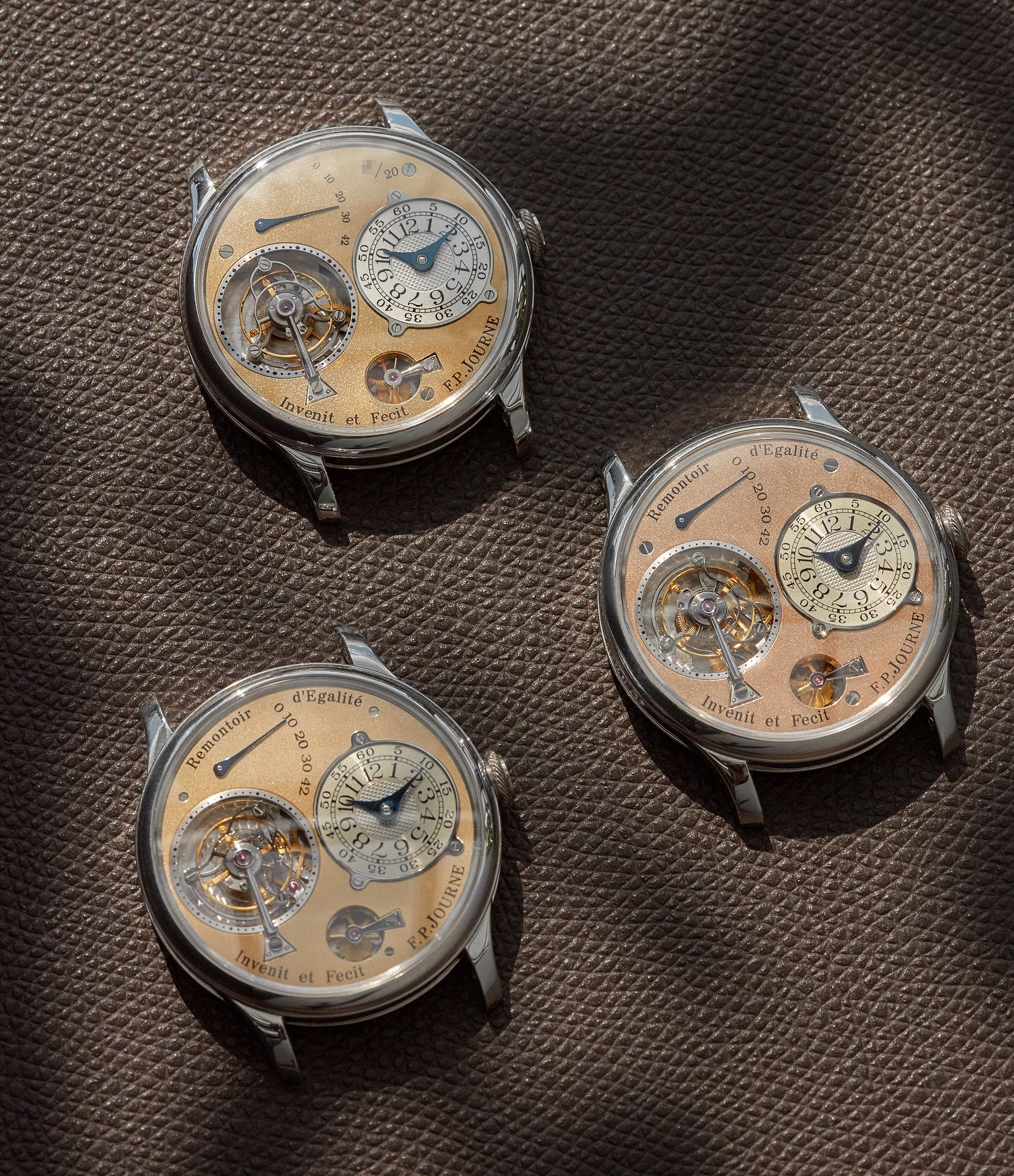 F.P. Journe Souscription Tourbillon, third generation Tourbillon Souverain and fourth generation Tourbillon Souverain shot by A Collected Man London