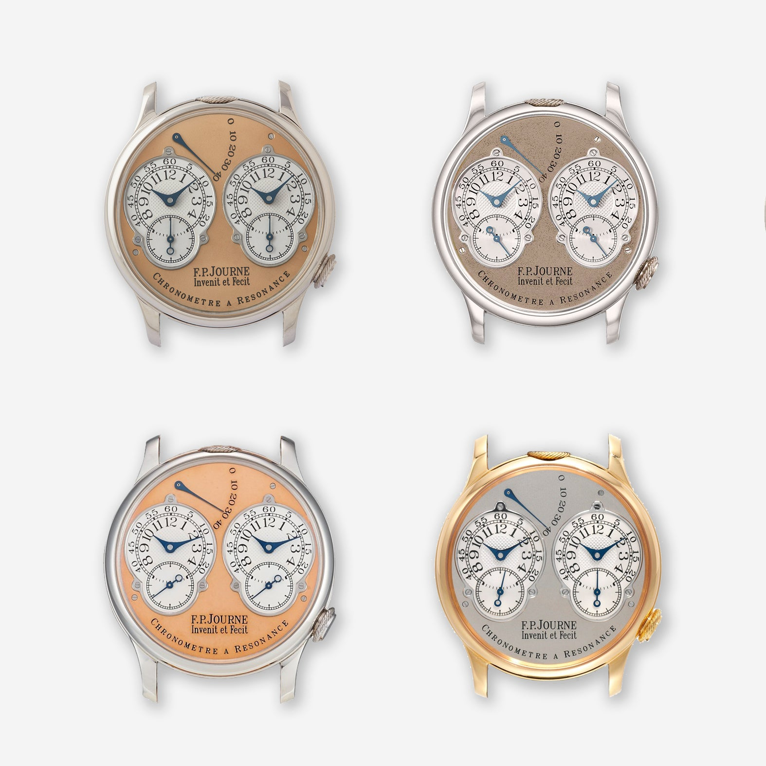 Four F.P. Journe Resonance showing different configurations
