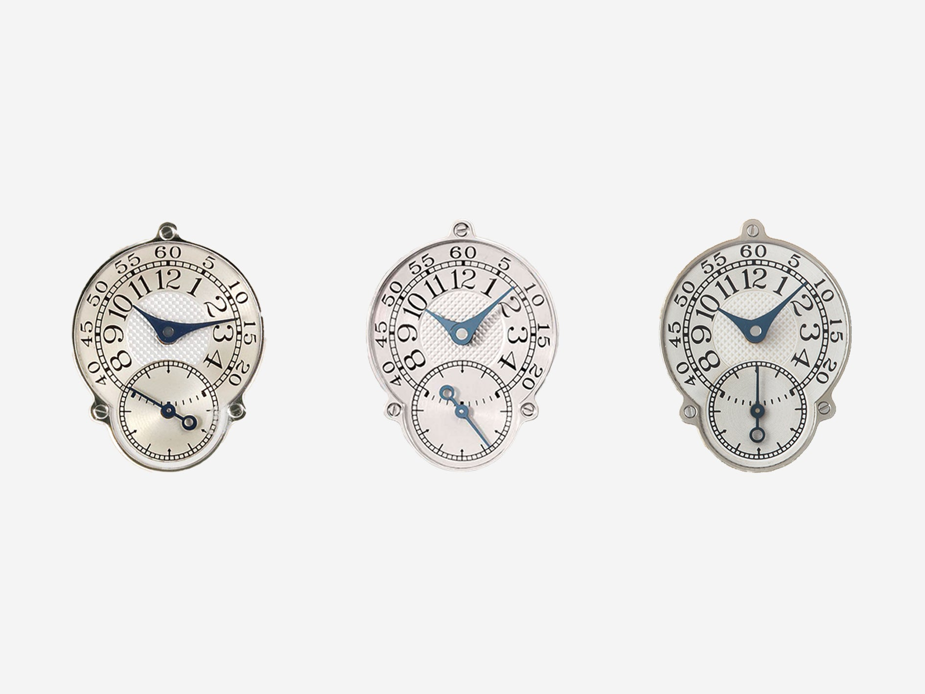 Three styles of F.P. Journe Resonance sub-dails