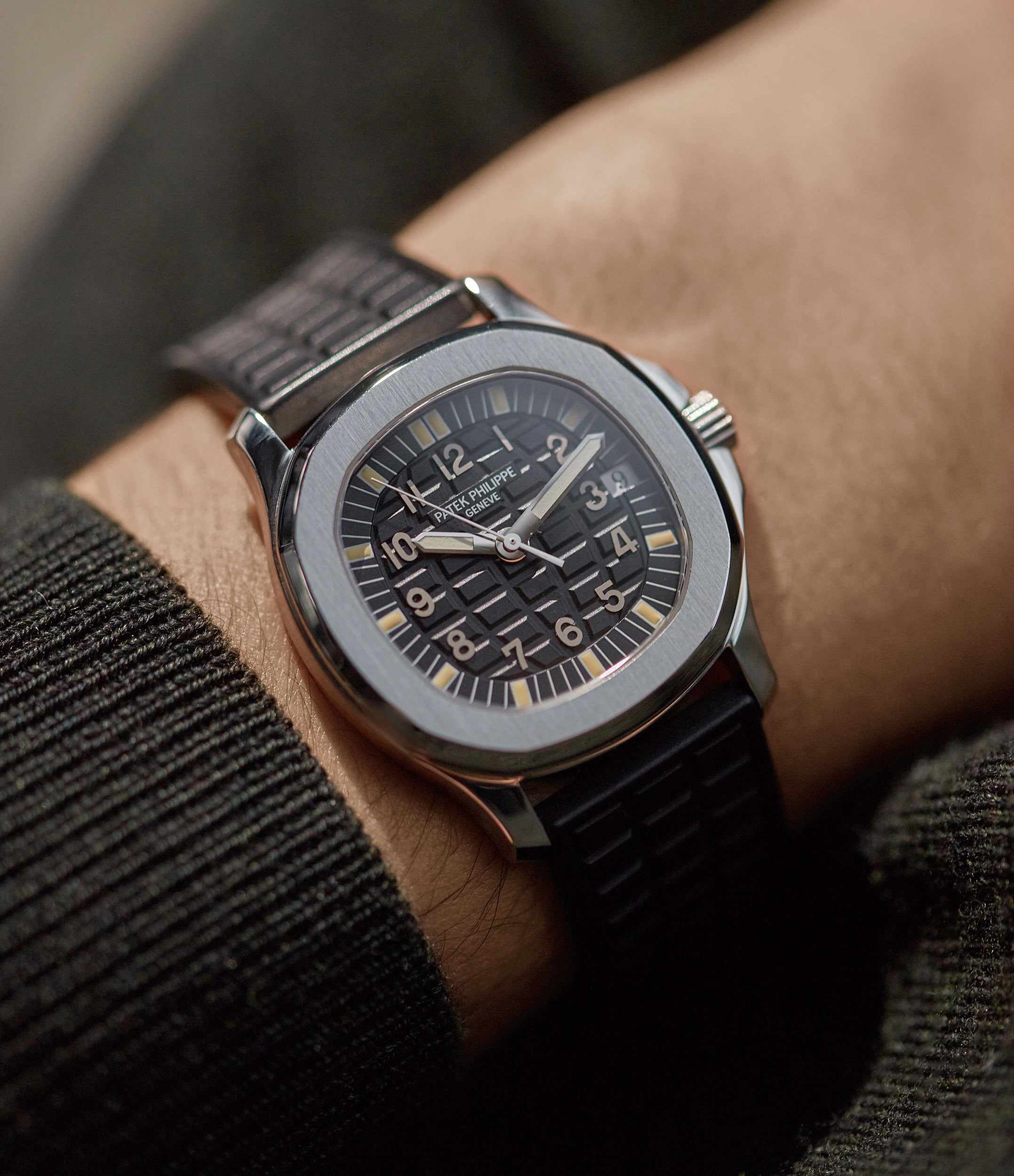 Patek Philippe 5060A Aquanaut in stainless steel on the wrist for A Collected Man London