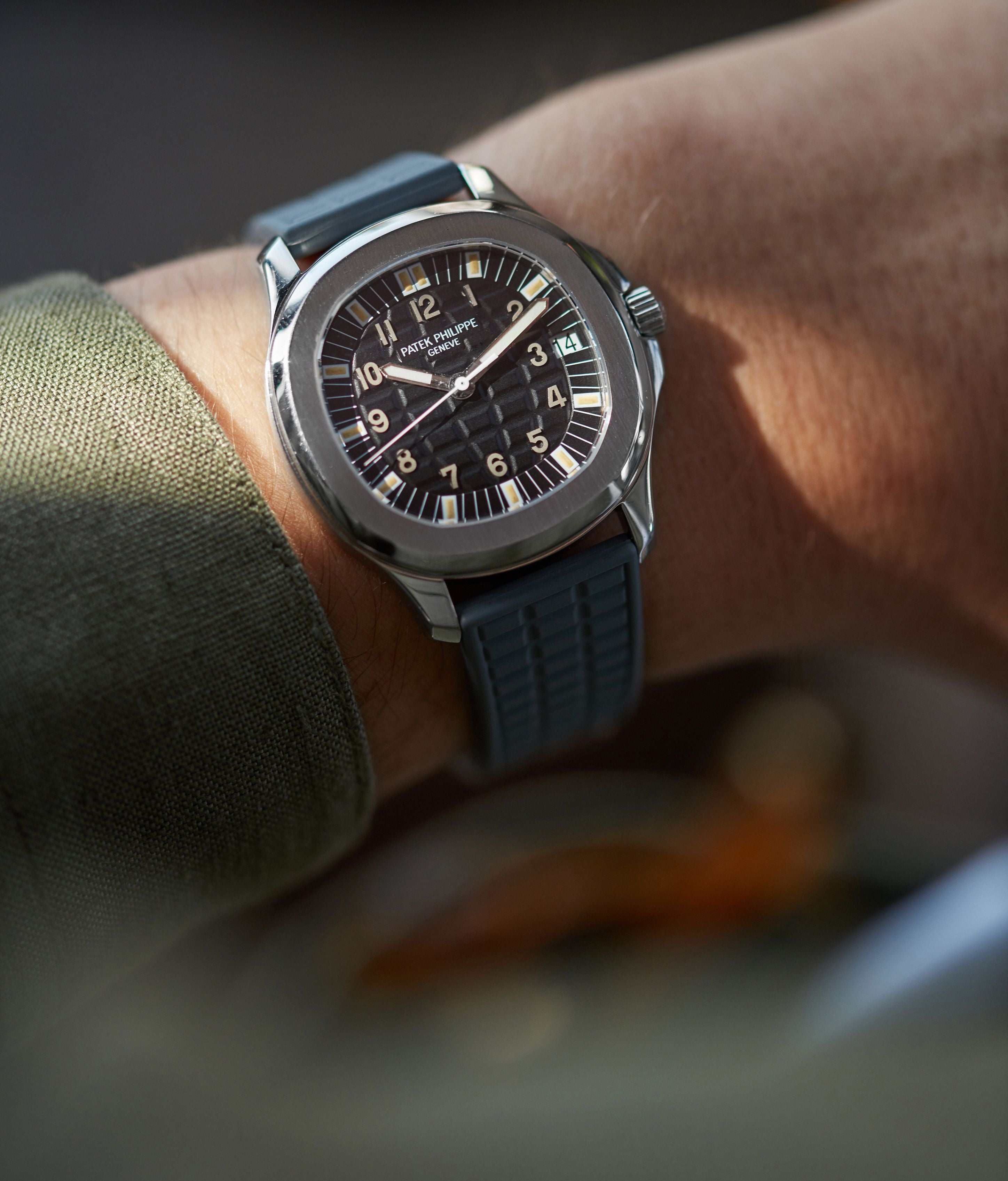 Patek Philippe 5065A Aquanaut in stainless steel and tritium lume one the wrist for A Collected Man London