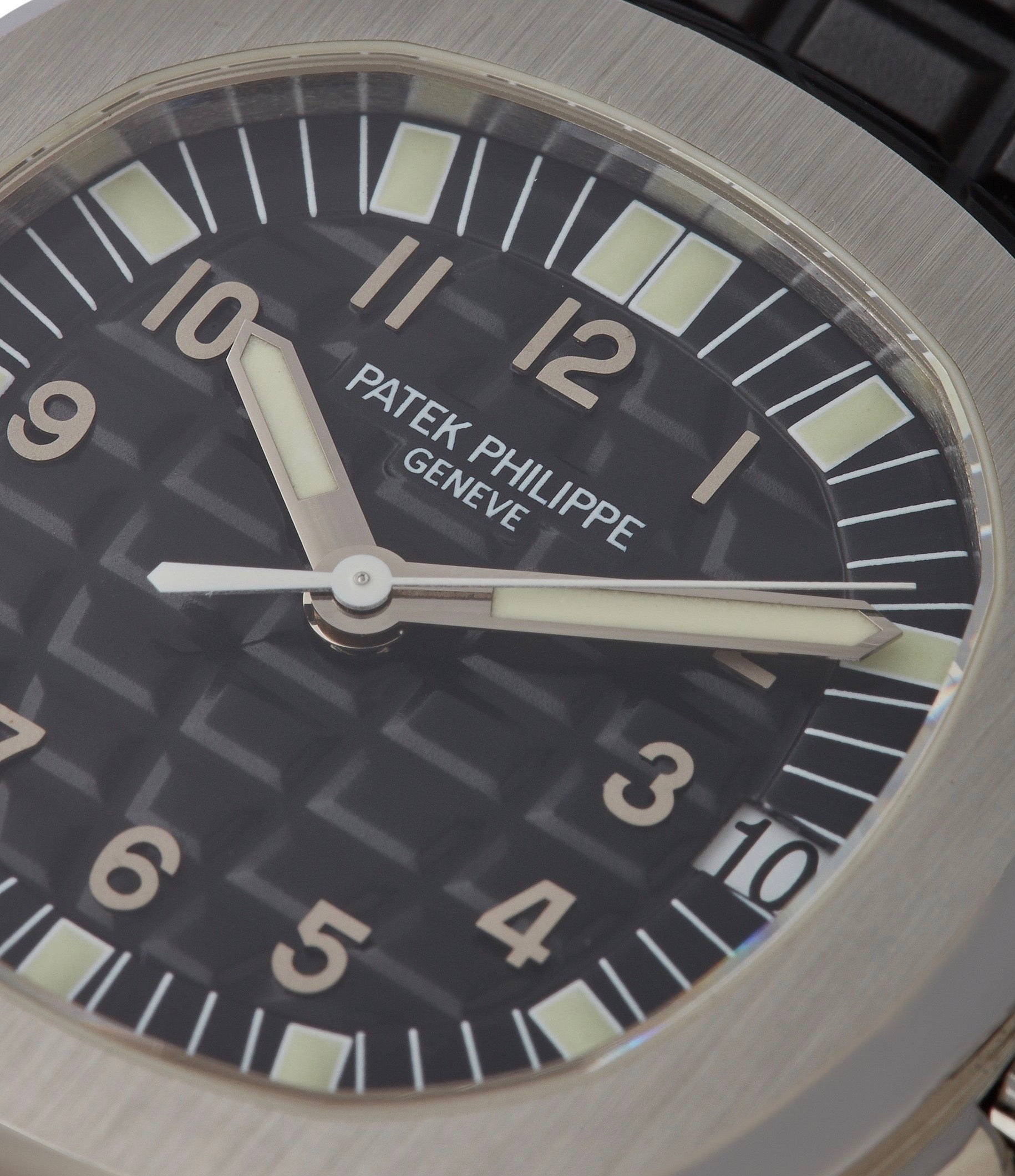 Patek Philippe 5065 Aquanaut macro shot with superluminova lume for A Collected Man London
