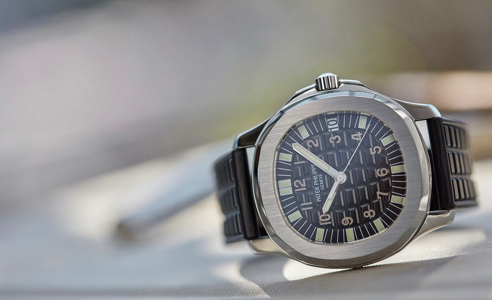Patek Philippe 5065 Aquanaut in stainless steel creative shot for A Collected Man London