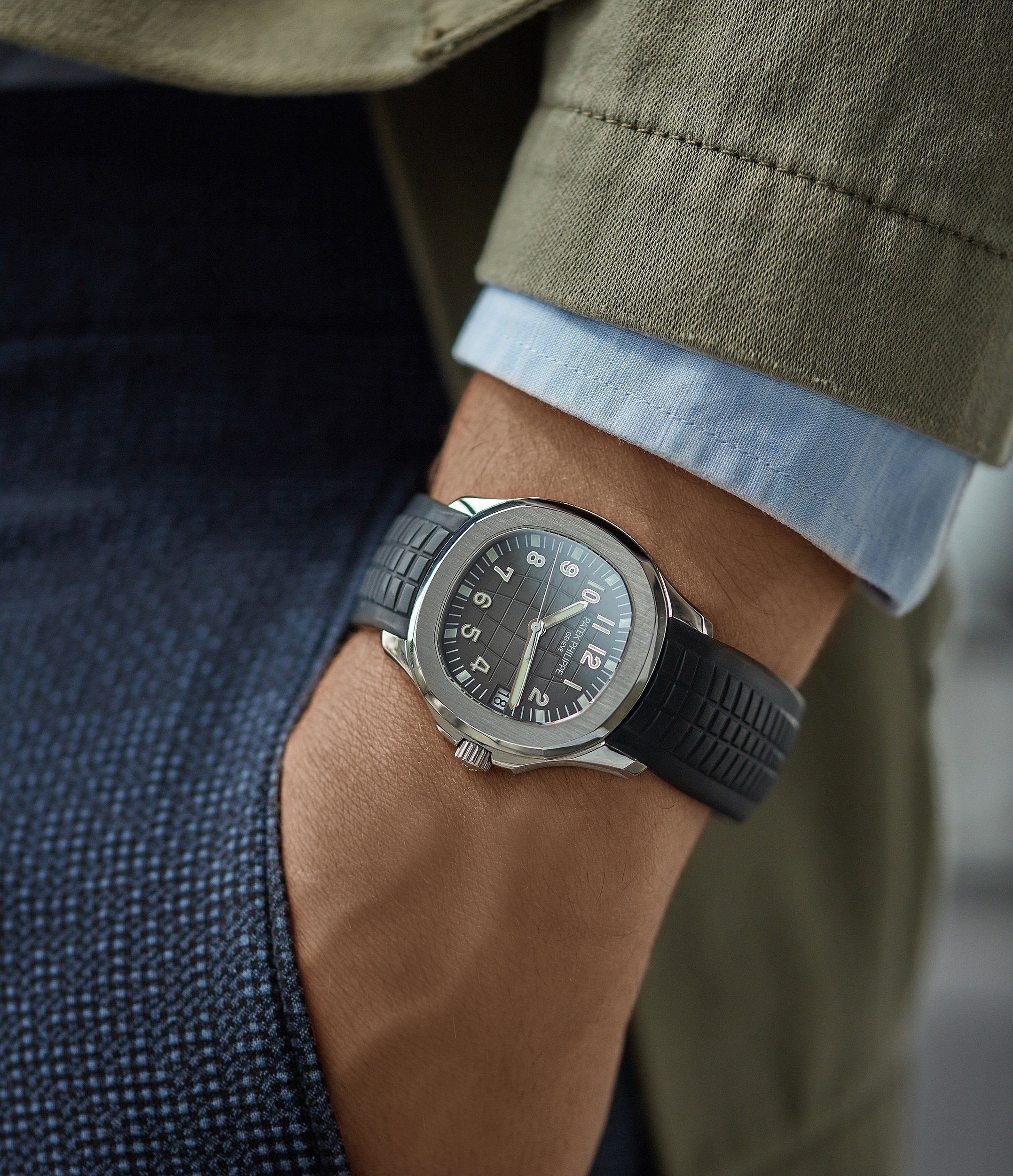 Patek Philippe 5165 Aquanaut on the wrist pocket shot for A Collected Man London