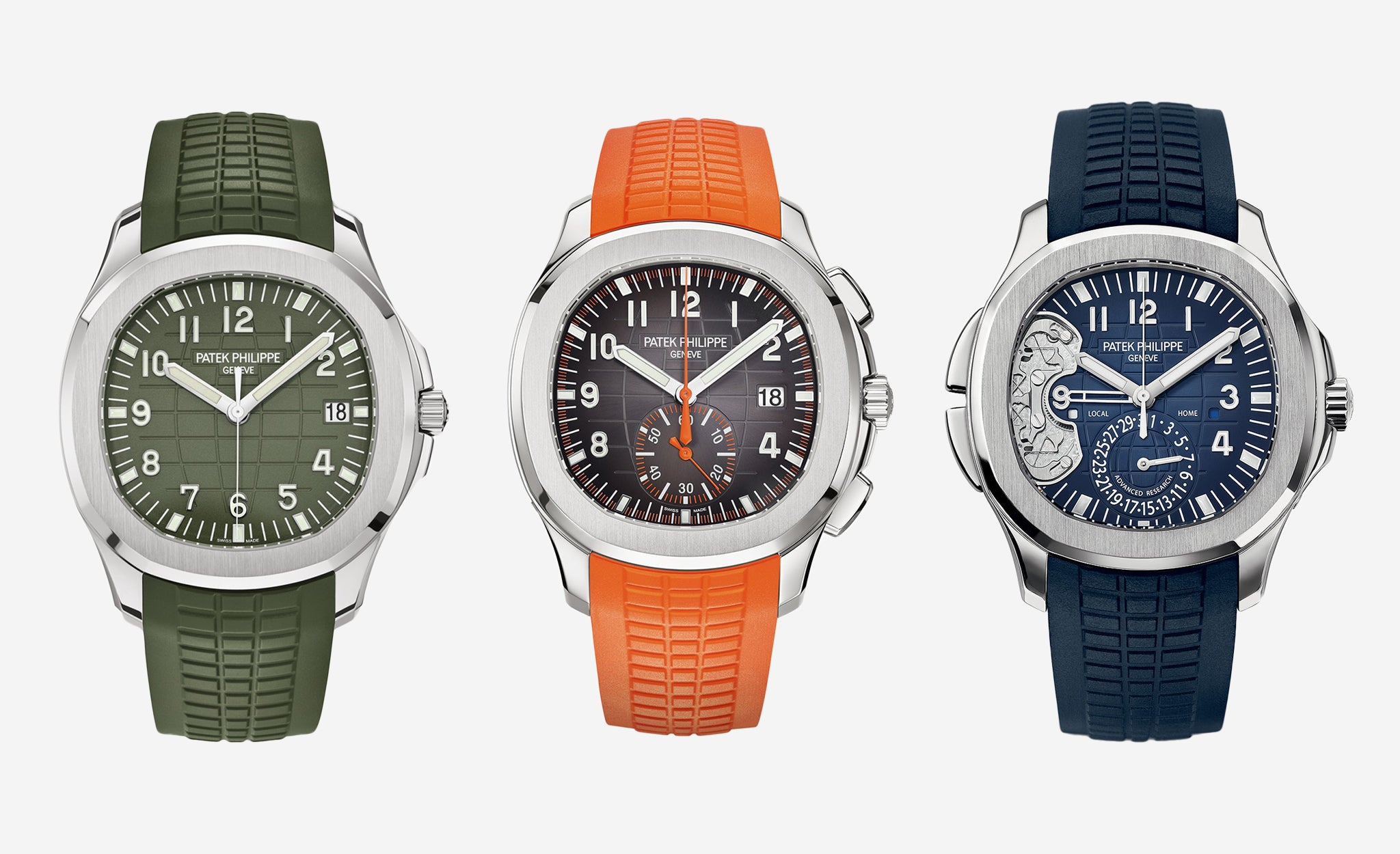 Three modern Patek Philippe Aquanauts in different colours for A Collected Man London