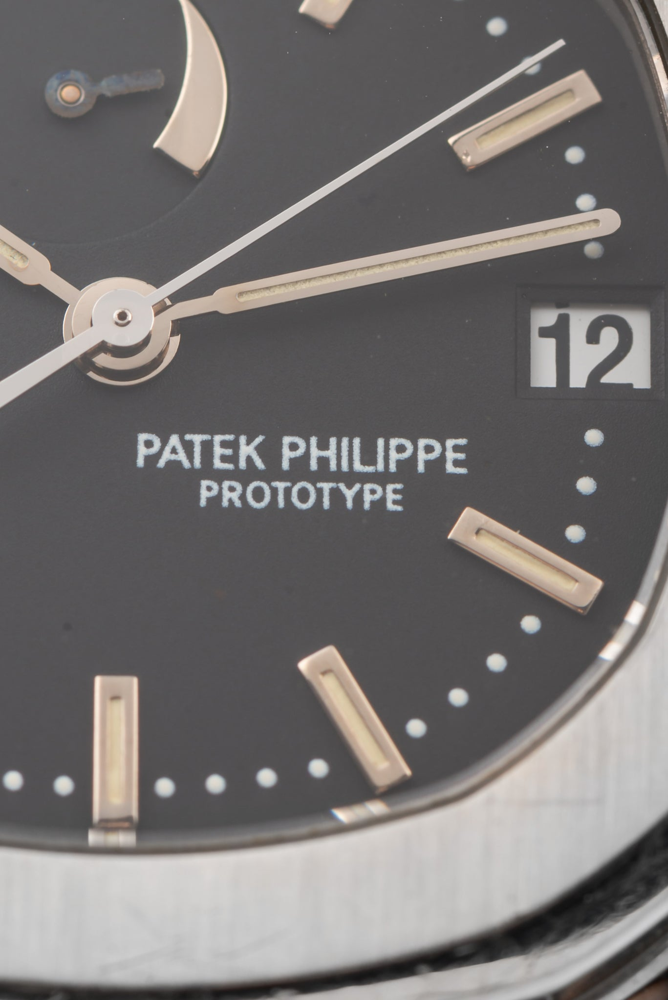 Patek Philippe Aquanaut prototype close up on the dial for A Collected Man London