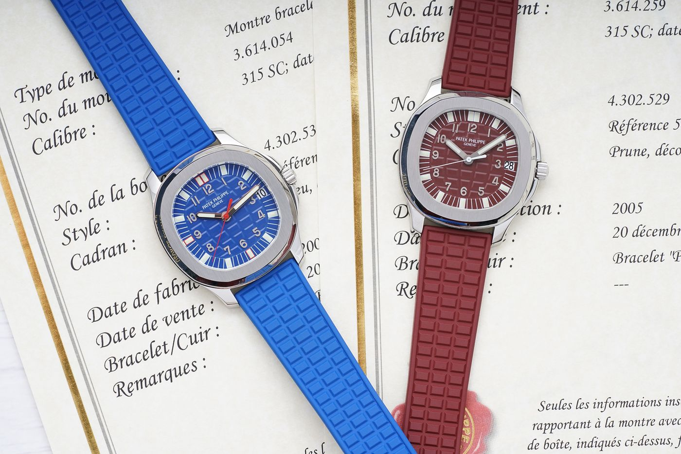 Patek Philippe red and blue Aquanauts possibly unique for A Collected Man London
