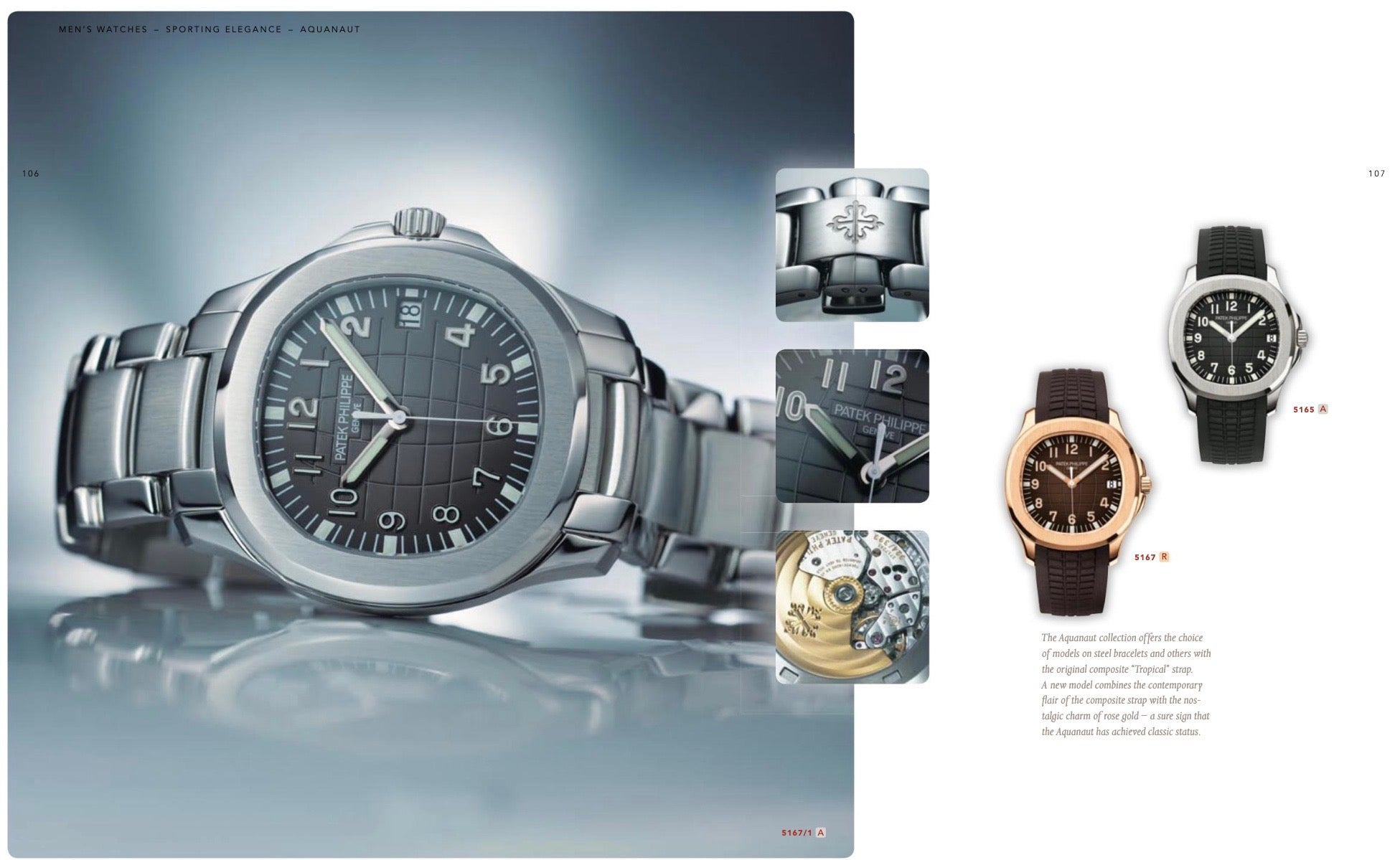 Patek Philippe Aquanaut advertisement from 2009 showing both a 5167 and 5165 for A Collected Man London