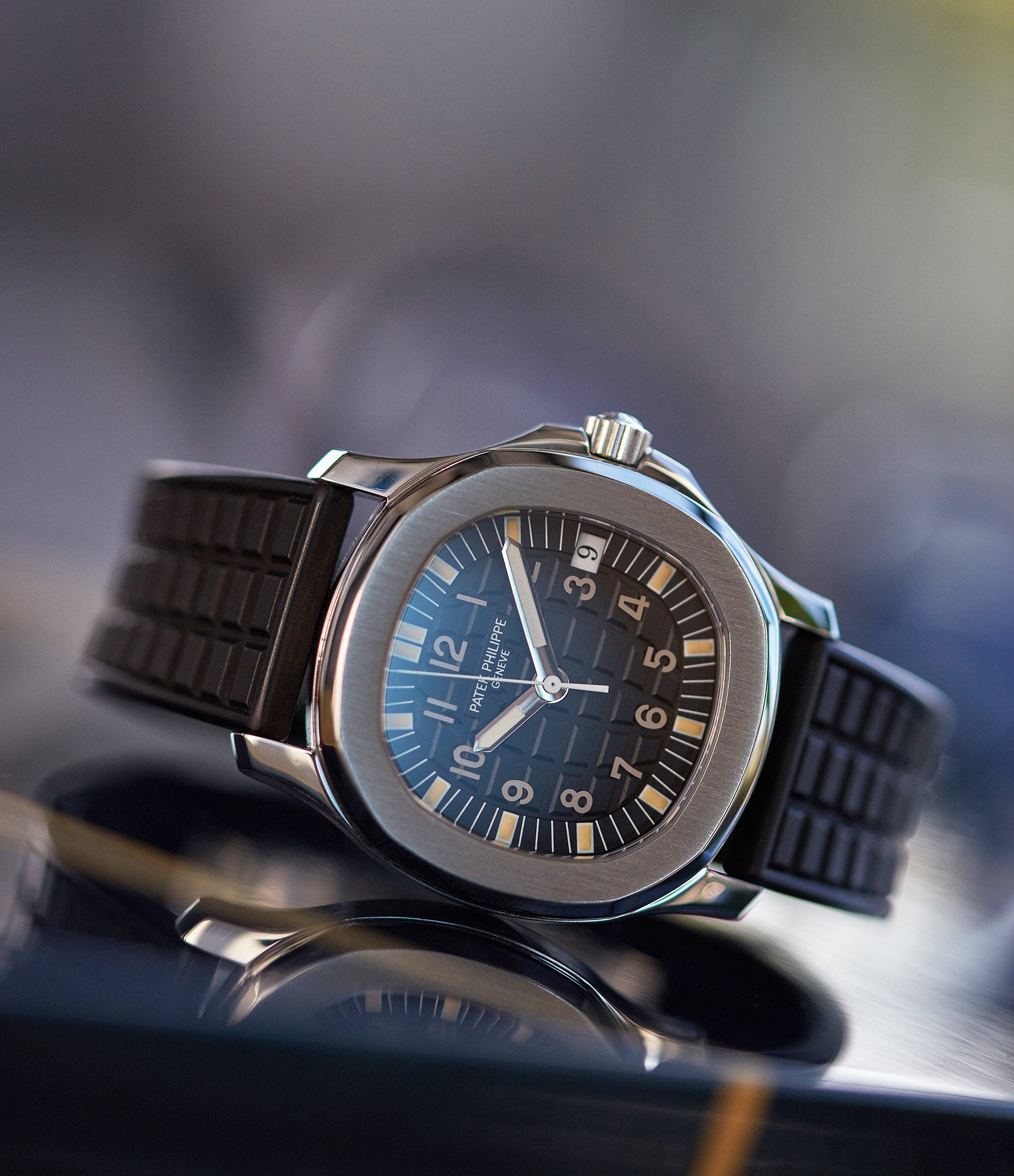 Patek Philippe 5060A Aquanaut on a black rubber strap for A Collected Man Lonodn