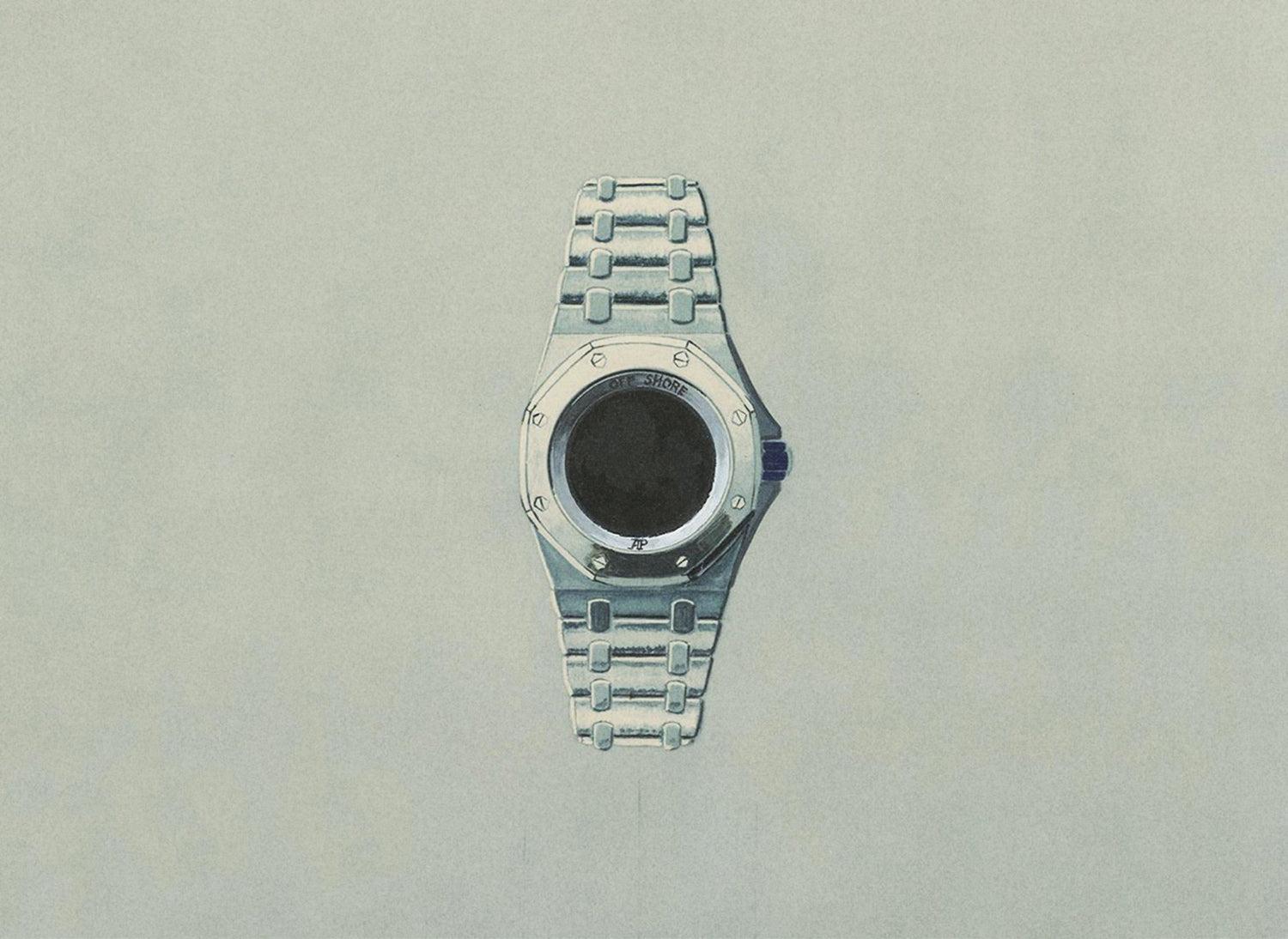 Design sketch of an Audemars Piguet Royal Oak Offshore case and bracelet for A Collected Man Lonodn