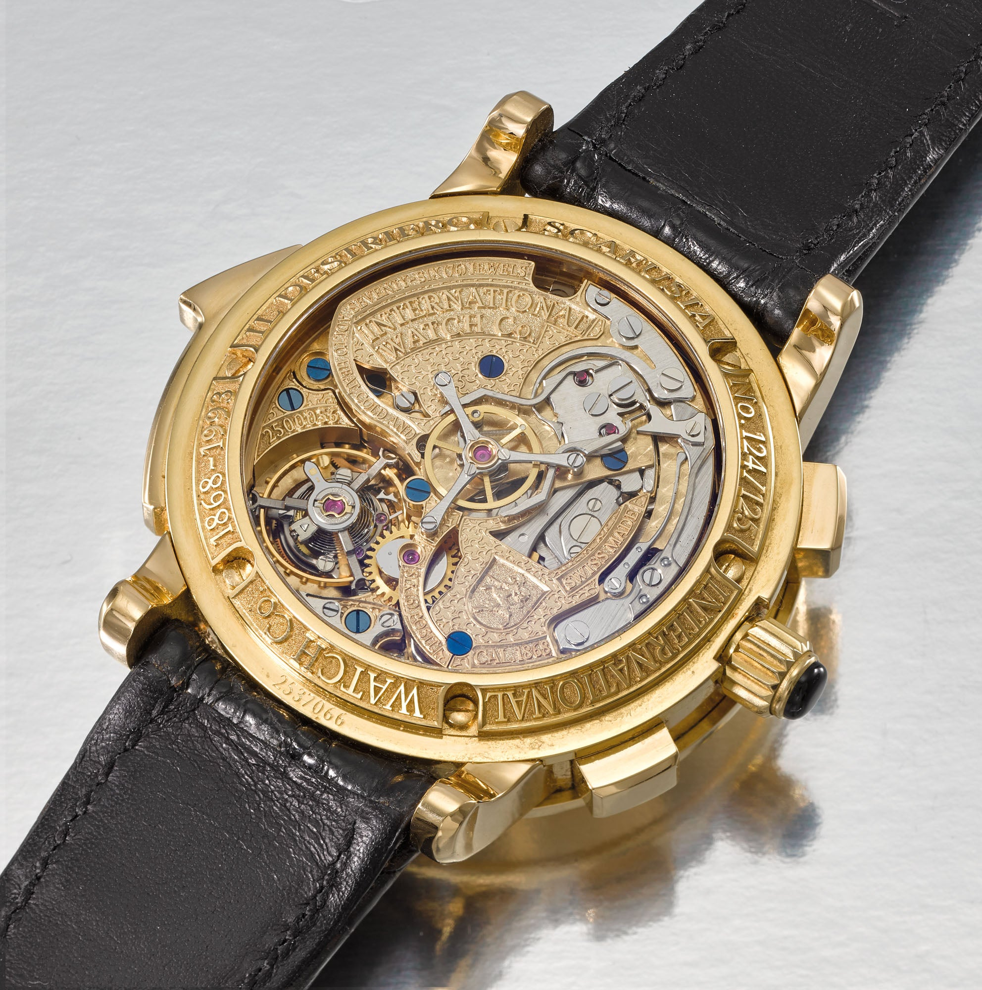 The watch movement of the IWC Il Destriero Scafusia grand complication wristwatch for A Collected Man London