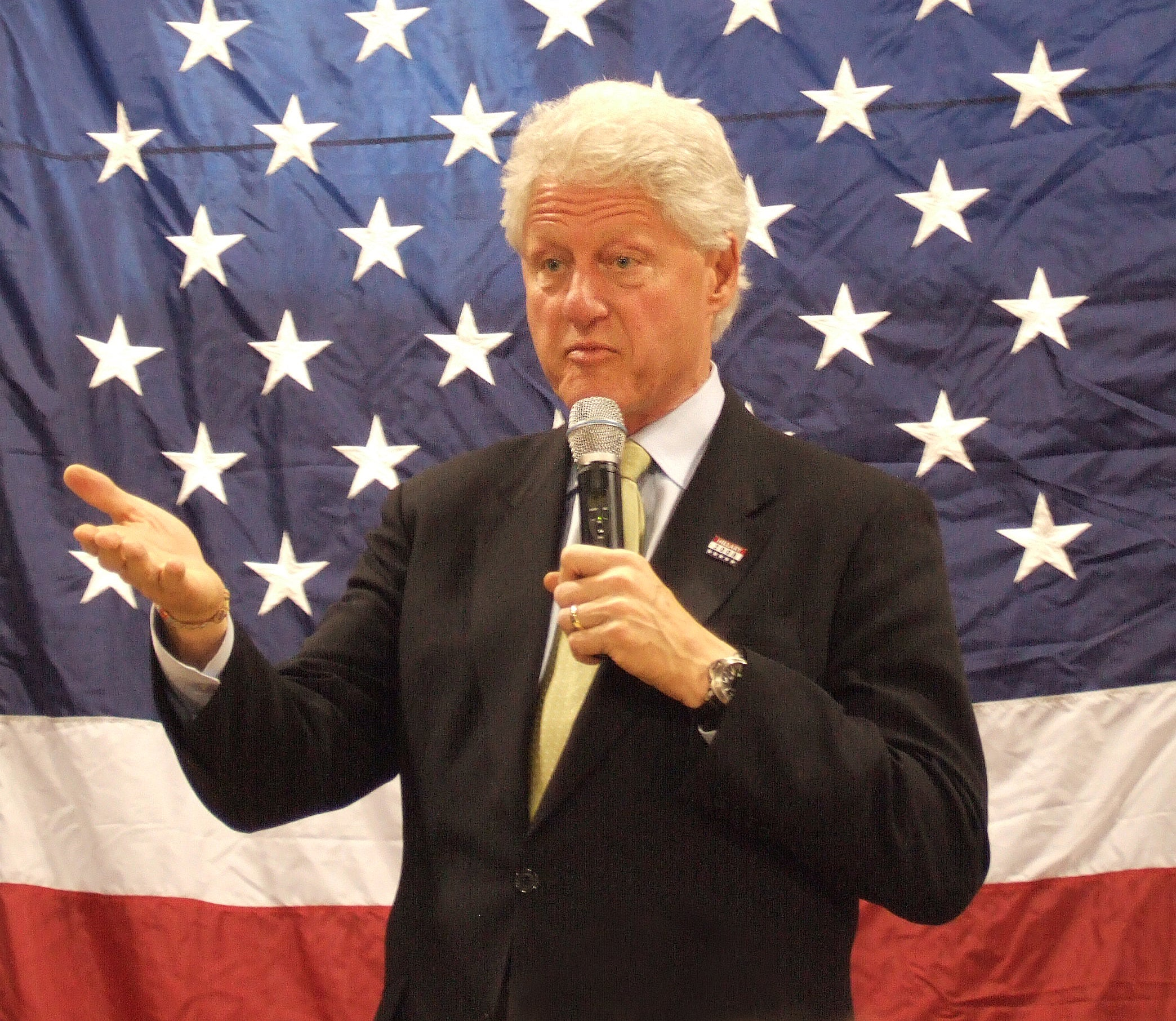 Former President Bill Clinton giving a speech for Hiliary Clinton wearing a Panerai for A Collected Man London