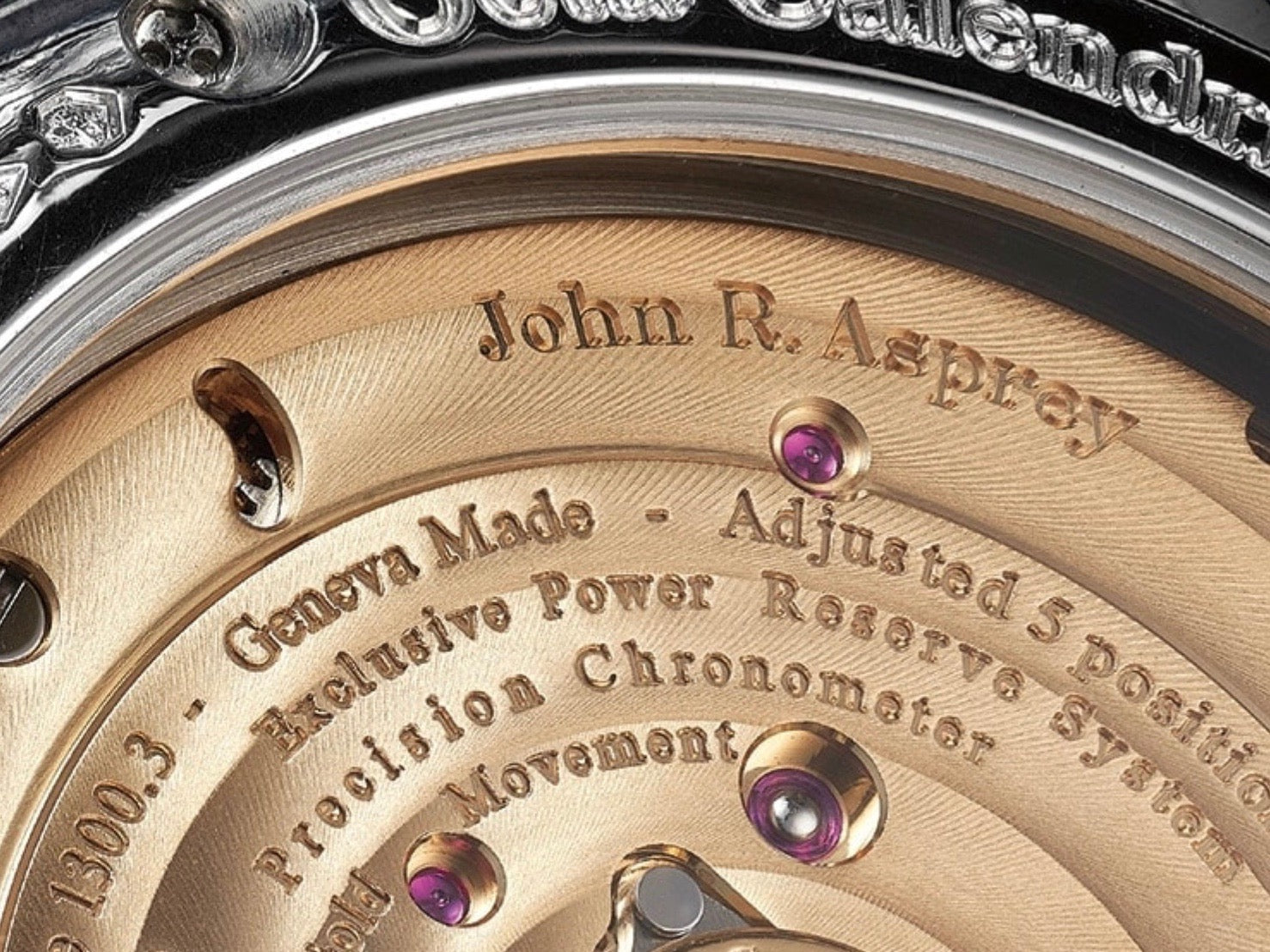 John R. Asprey signature on the movement of an F.P. Journe wristwatch