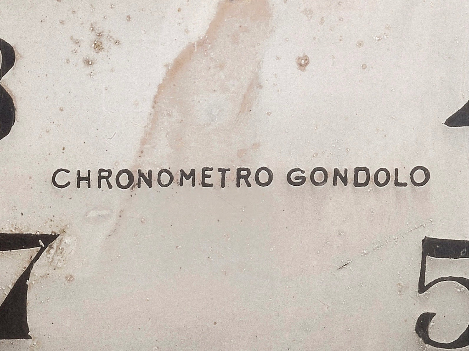 Close up on Chronometro Gondolo signature on a wristwatch from 1912 for A Collected Man London