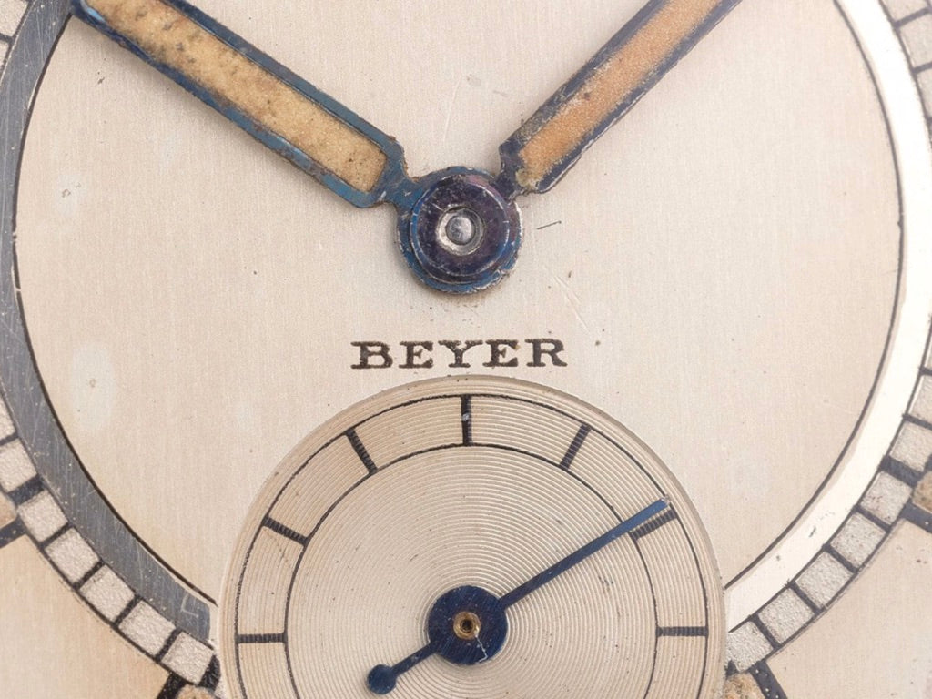 Close up of a  Rolex Oyster from 1935 signed by Beyer for A Collected Man London