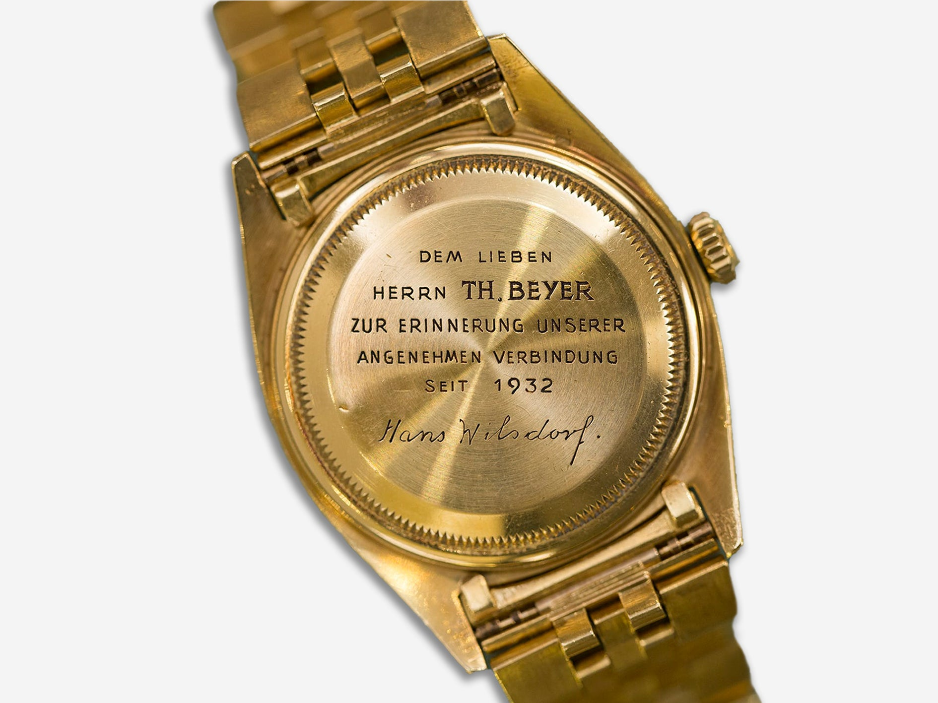 Caseback of a Rolex Day Date gifted from Hans Wilsdorf to Theodore Beyer