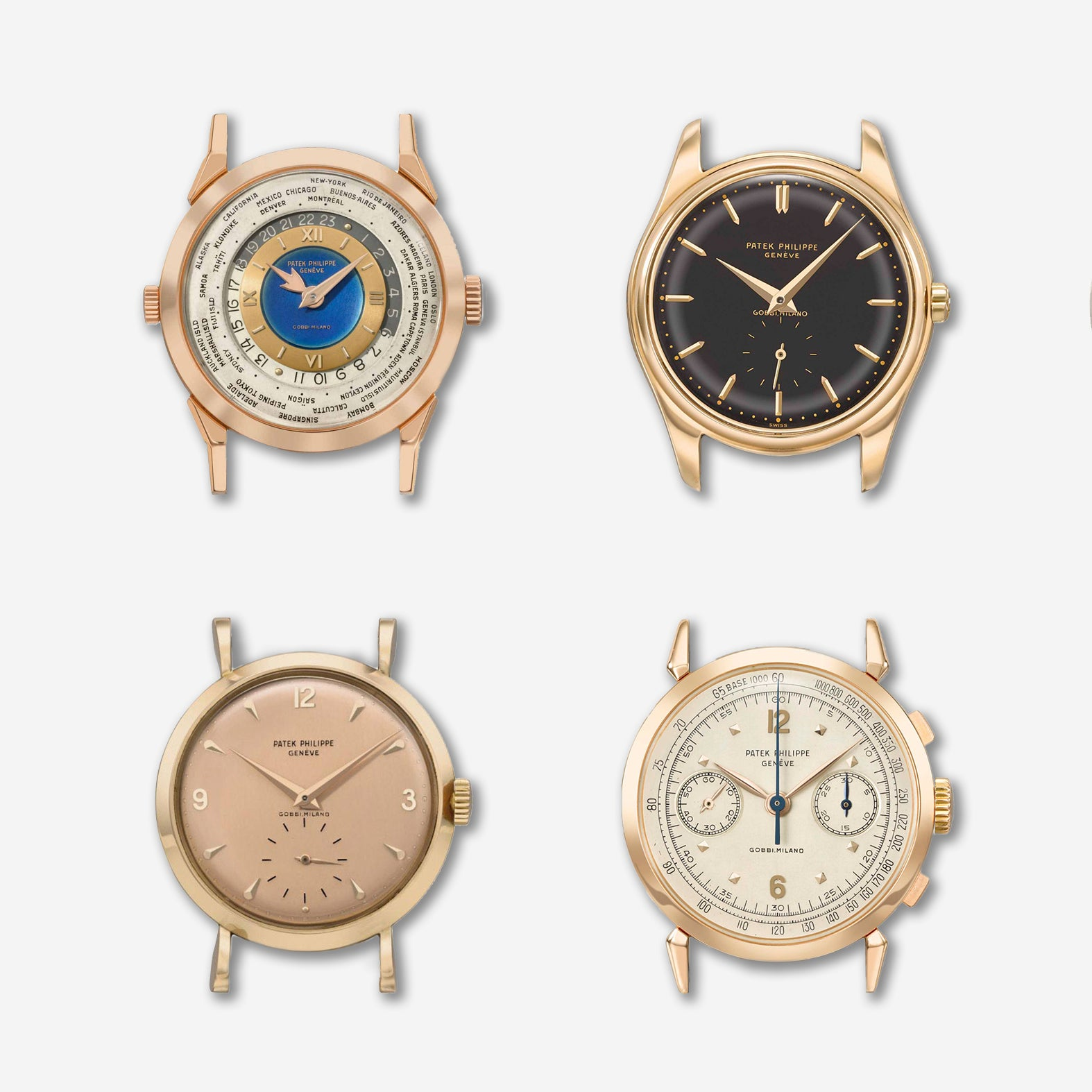 Patek Philippe references 2523, 2526, 1579 and 2459 all signed by Gobbi for A Collected Man London