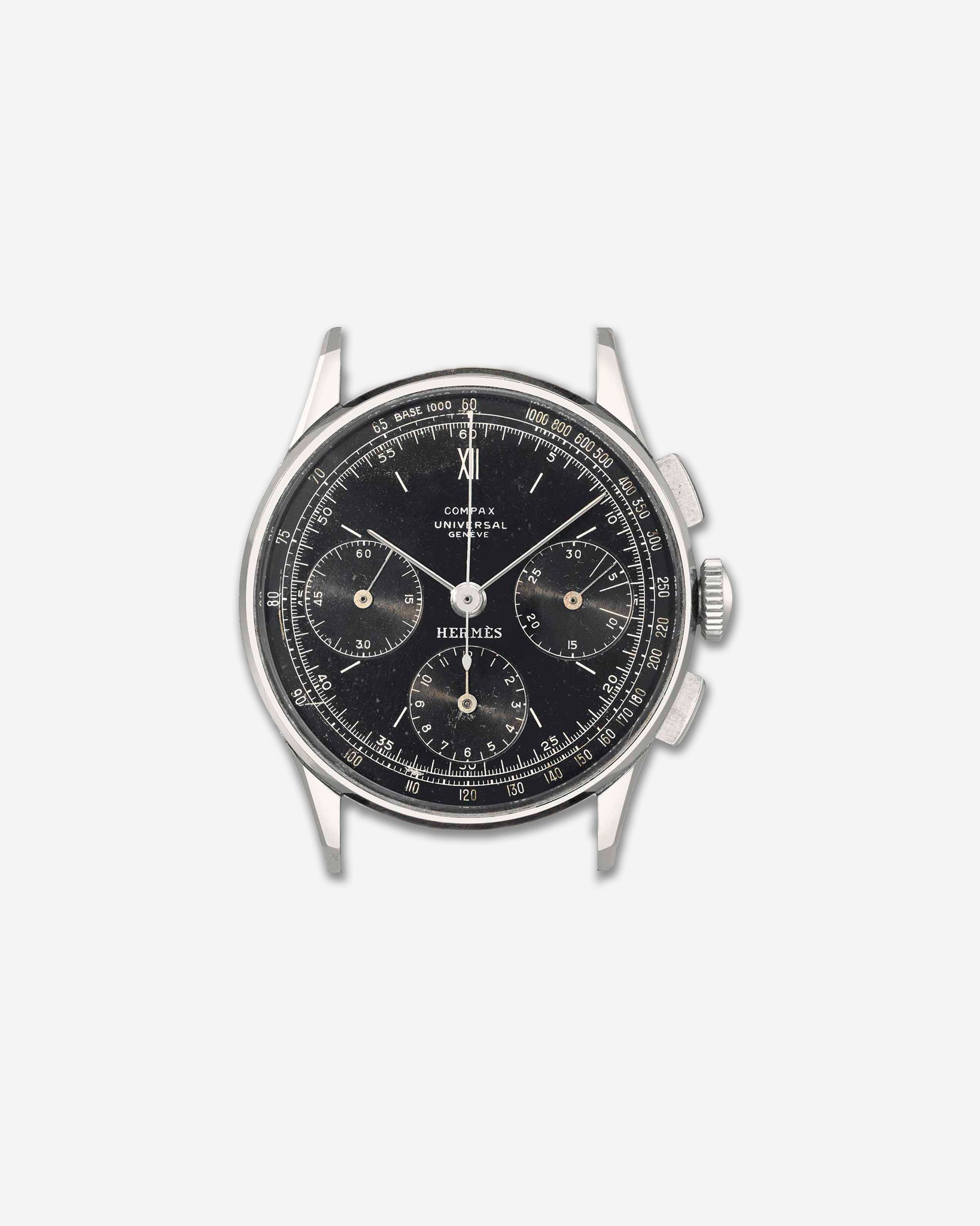 Universal three register chronograph signed by Hermes