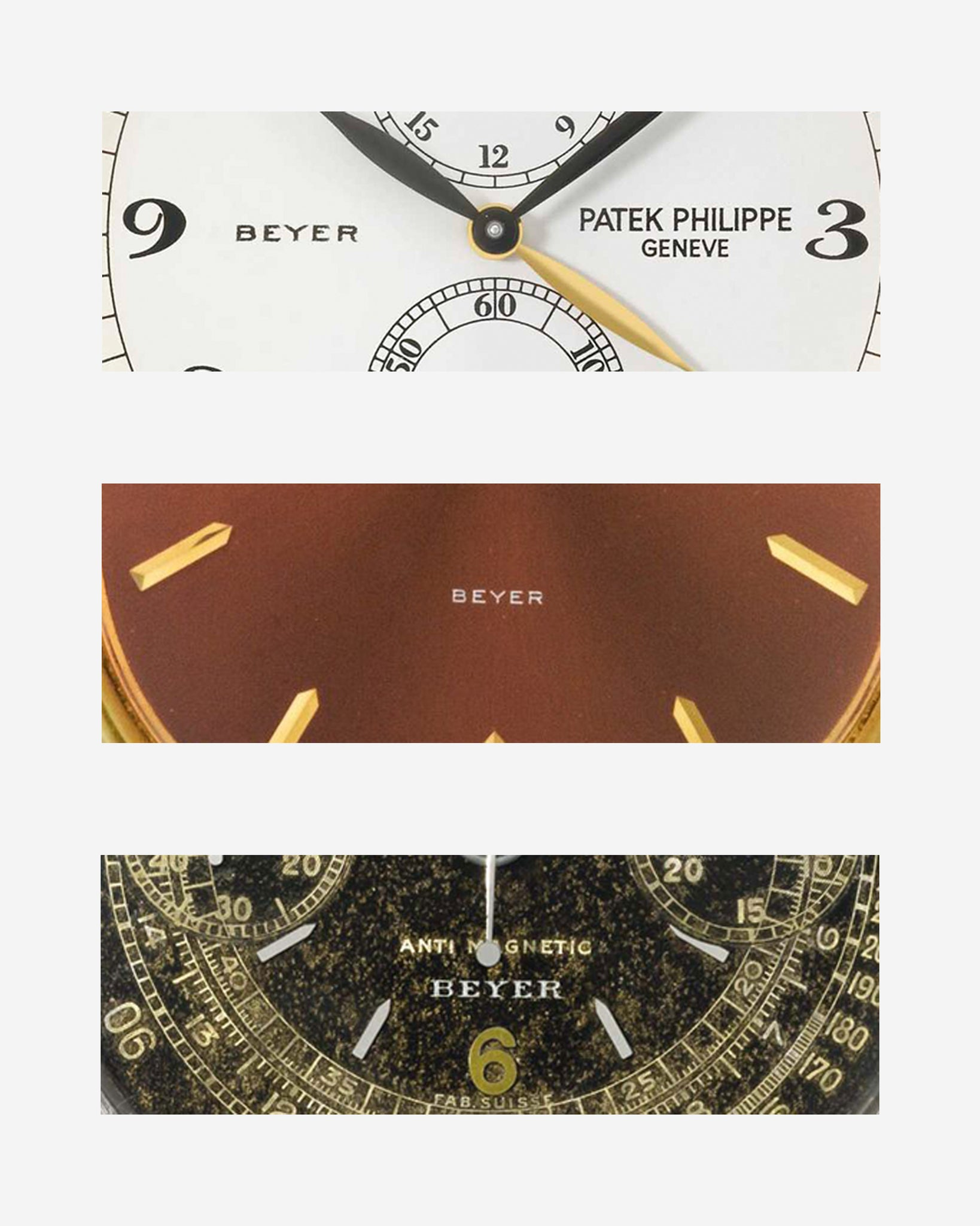 Patek Philippe ref. 5034 (top), a Patek Philippe ref. 3605 (middle) and a Rolex ref. 3525 close ups on Beyer signatures for A Collected Man London