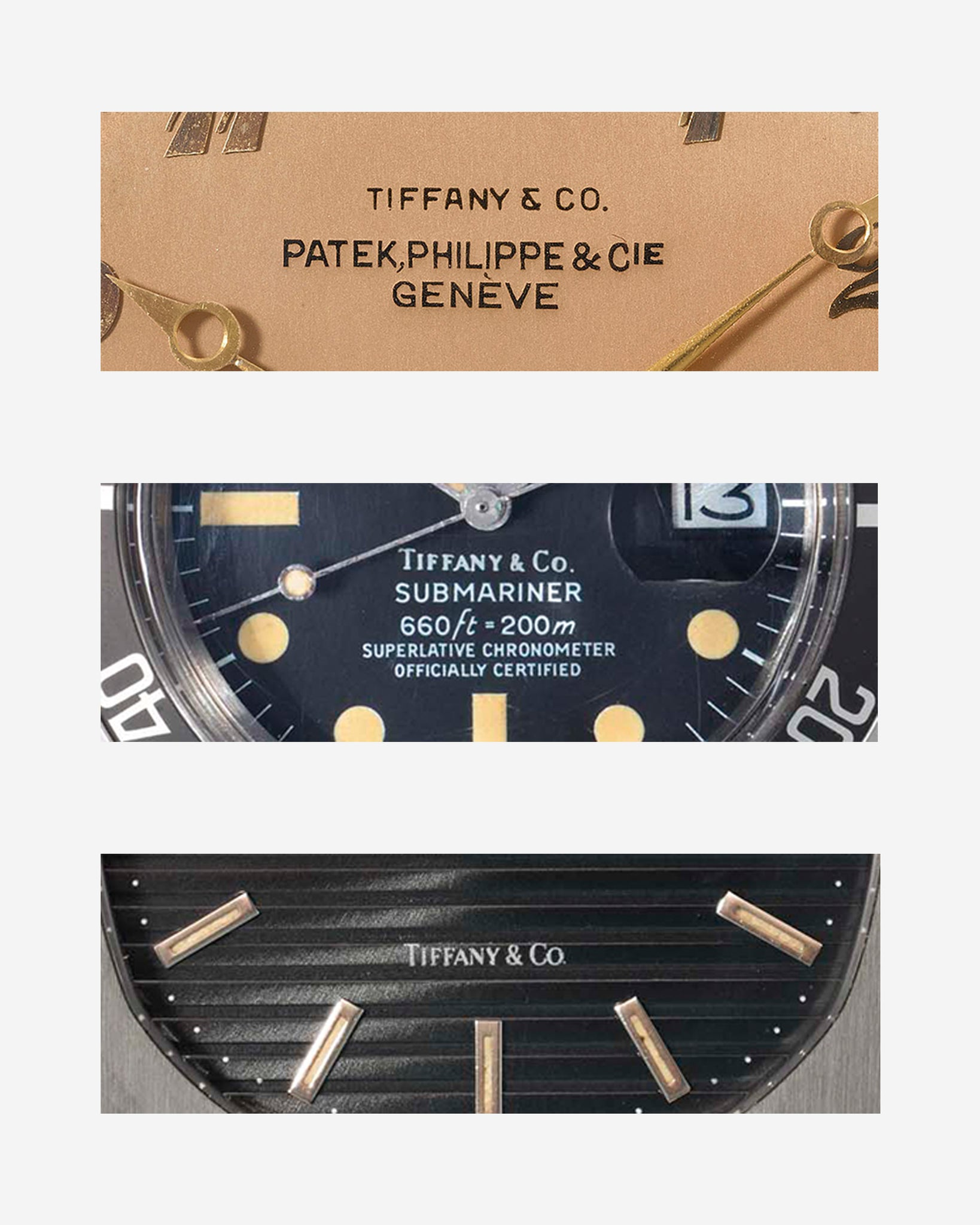Close ups of a Patek Philippe ref. 600/2 (top), a Rolex  ref. 1680 (middle) and a Patek Philippe ref. 3700/1 (bottom) all signed by Tiffany & Co for A Collected Man London