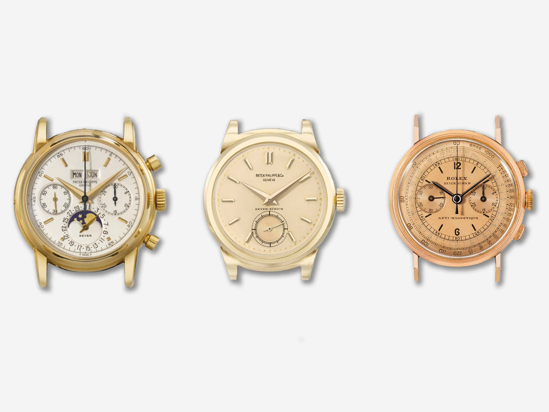 Patek Philippe ref. 2499 (left), a Patek Philippe ref. 1491 (center) and a Rolex ref. 3858 (right) all signed by Beyer for A Collected Man London