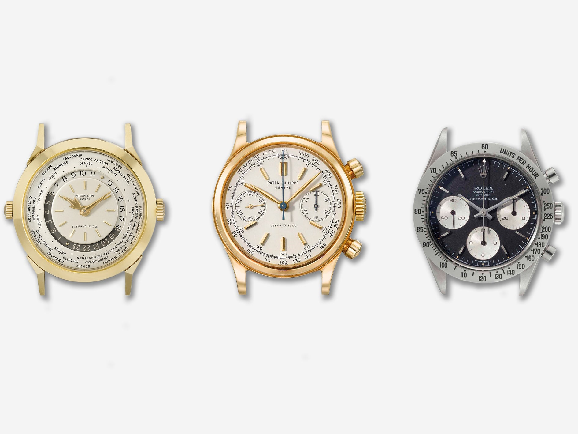 A Patek Philippe ref. 2523/1 (left), a Patek Philippe ref. 1463 (center) and a Rolex ref. 6239 (right) all signed by Tiffany & Co for A Collected Man