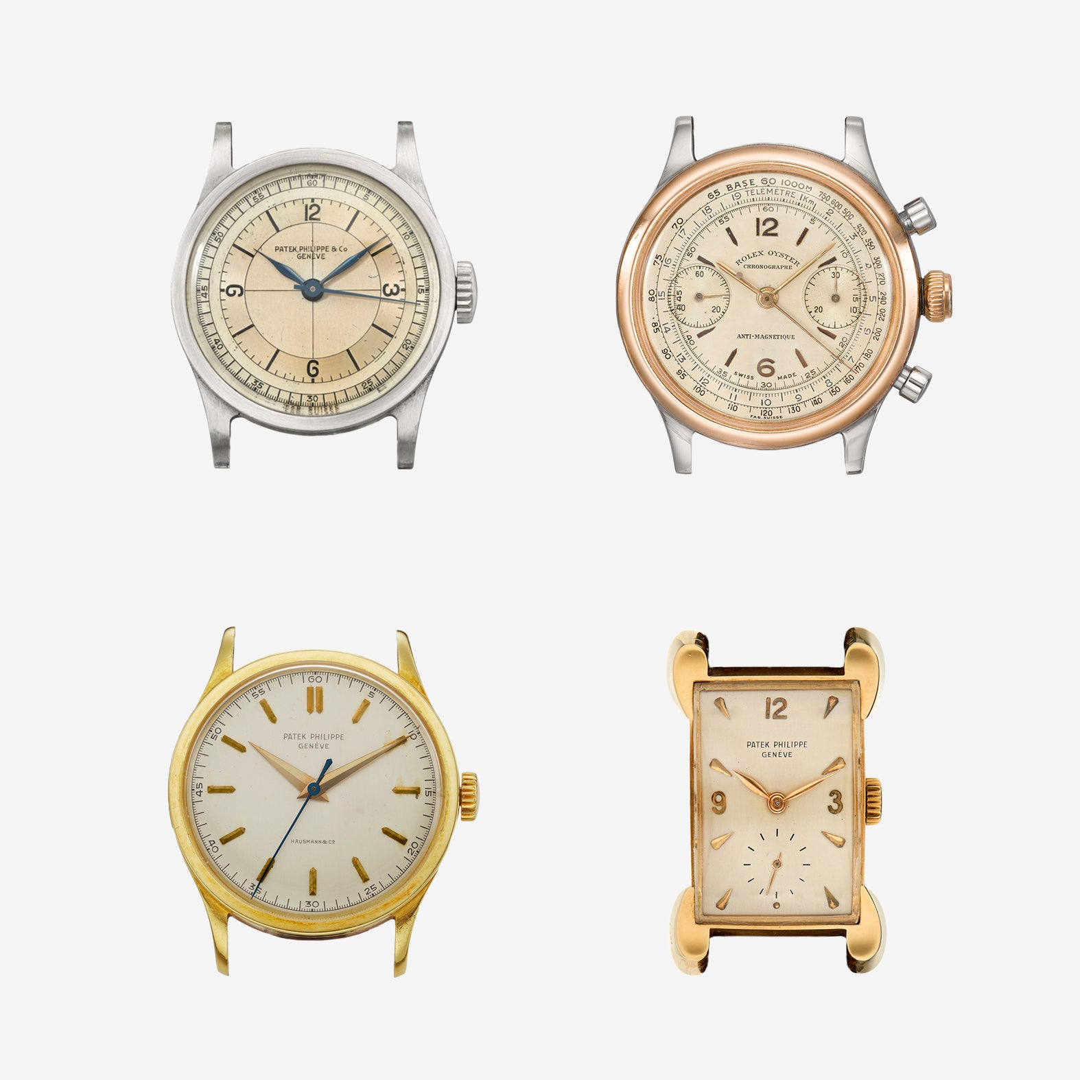Grid of 4 watches owned by Andy Warhol in Understanding Andy Warhol as a collector for A Collected Man