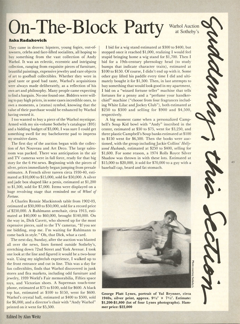 Magazine article about the Warhol estate sale at Sotheby's in Understanding Andy Warhol as a collector for A Collected Man