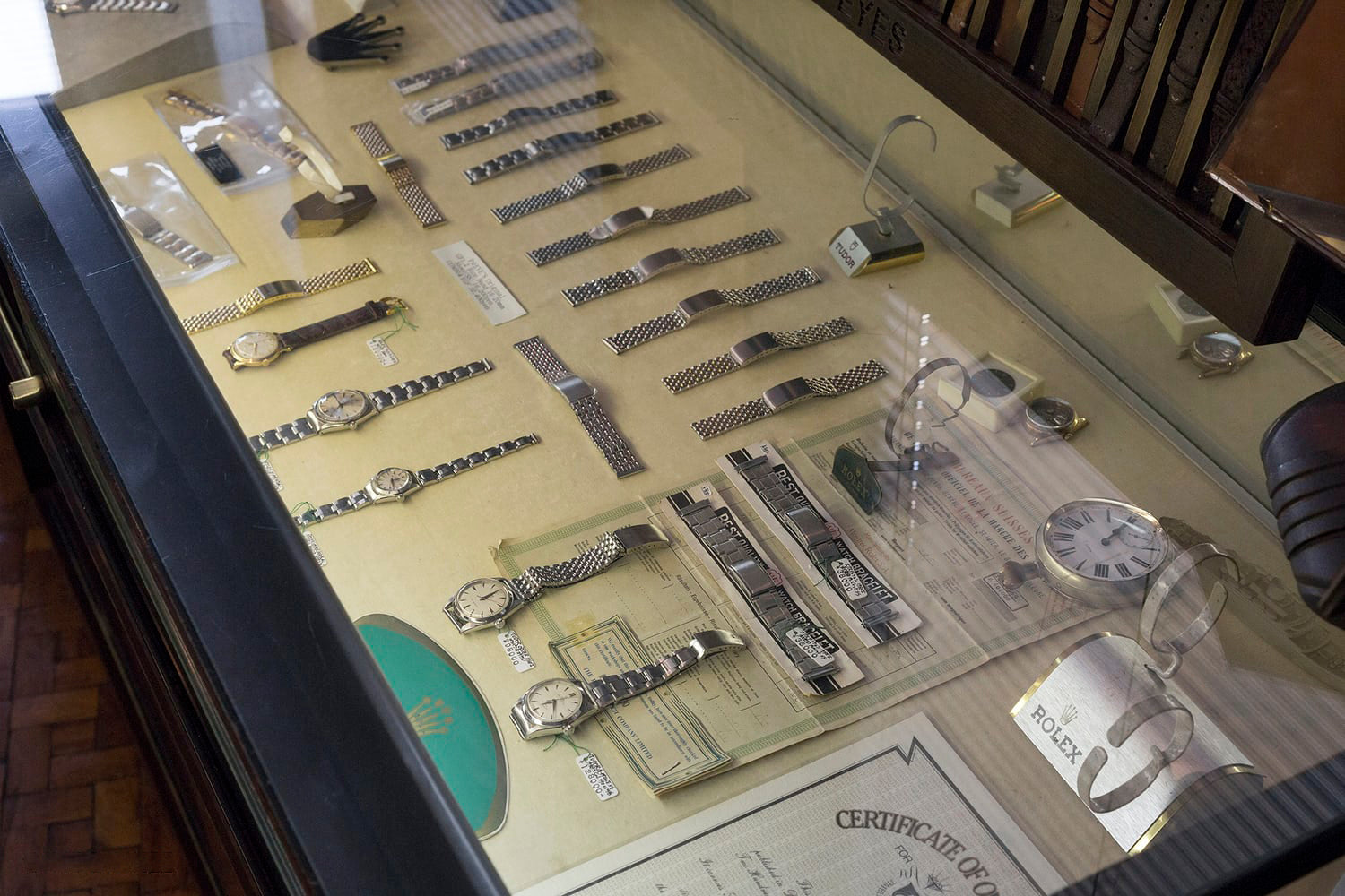Private Eyes display case of vintage Rolex watches in Tokyo Japan with loose bracelets for A Collected Man London