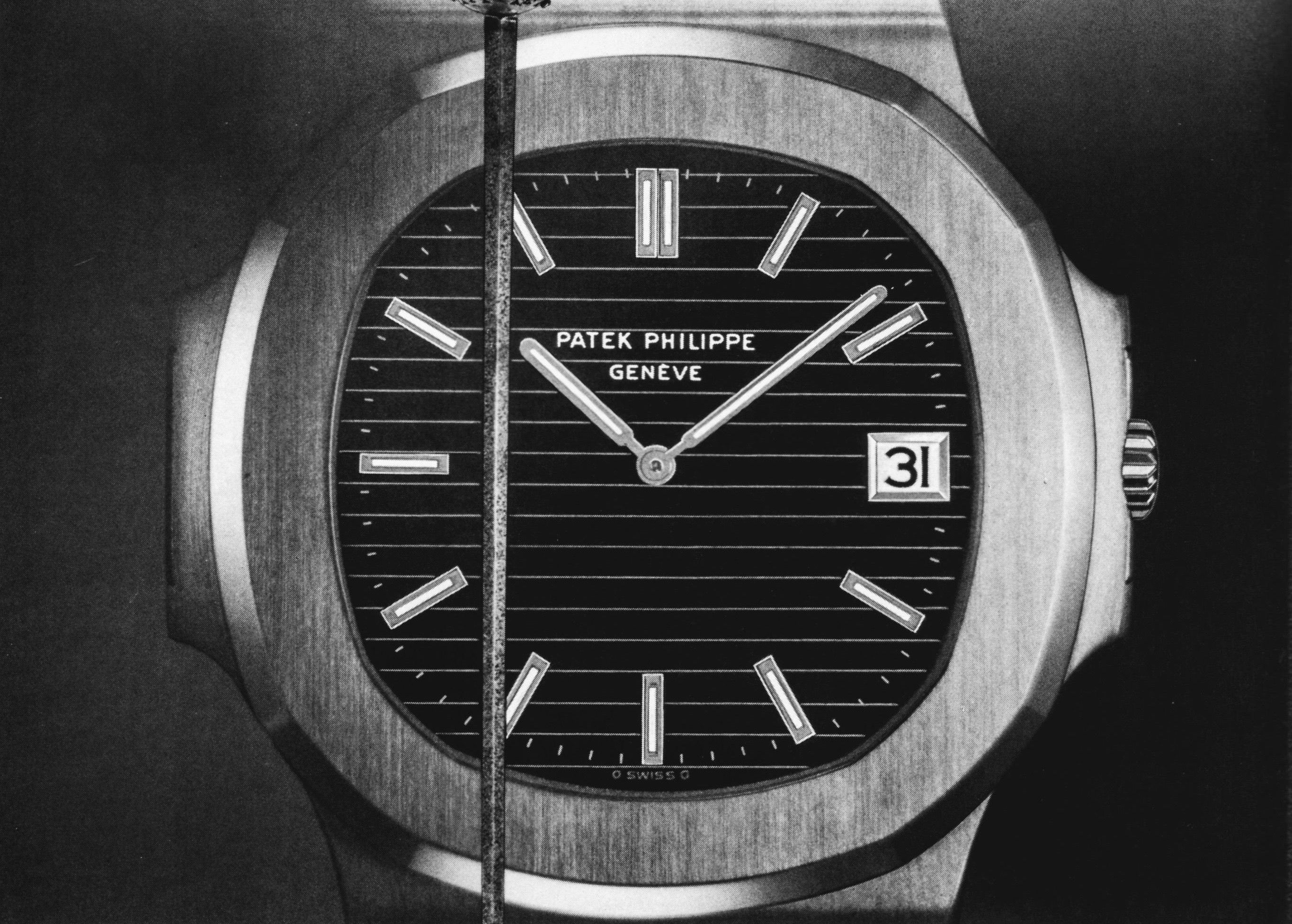 Patek Philippe nautilus advertisement from the 1970s in black and white from AdPatina for A Collected Man London