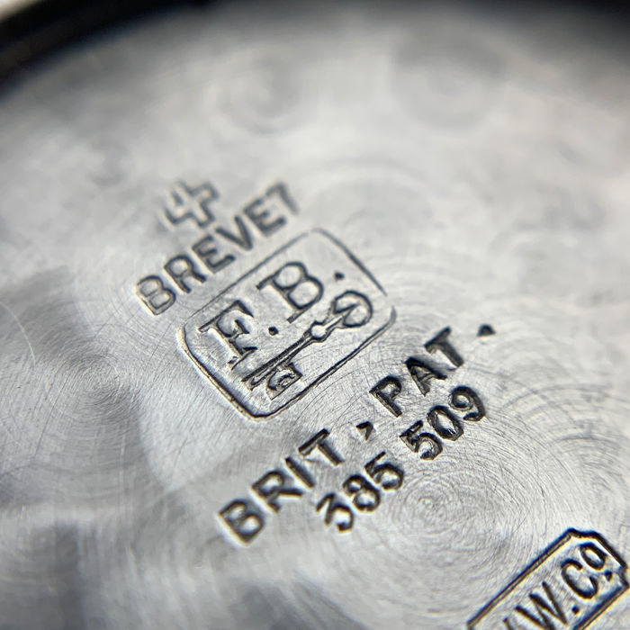 Macro of inside case back showing hallmarks in Borgel – The Master Casemaker you Haven't Heard Of for A Collected Man London