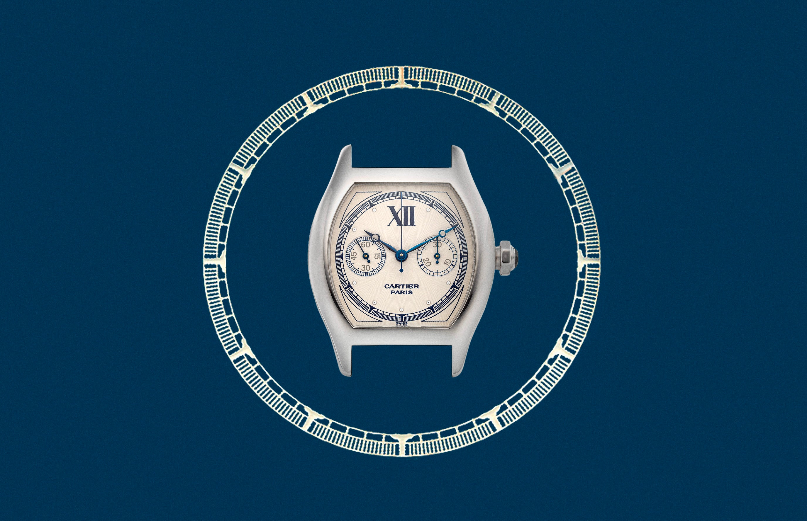 """Cartier CPCP Tortue Monopoussoir with blue printing on dial In A Collector's Guide to the """"Collection Privée Cartier Paris"""" for A Collected Man London"""