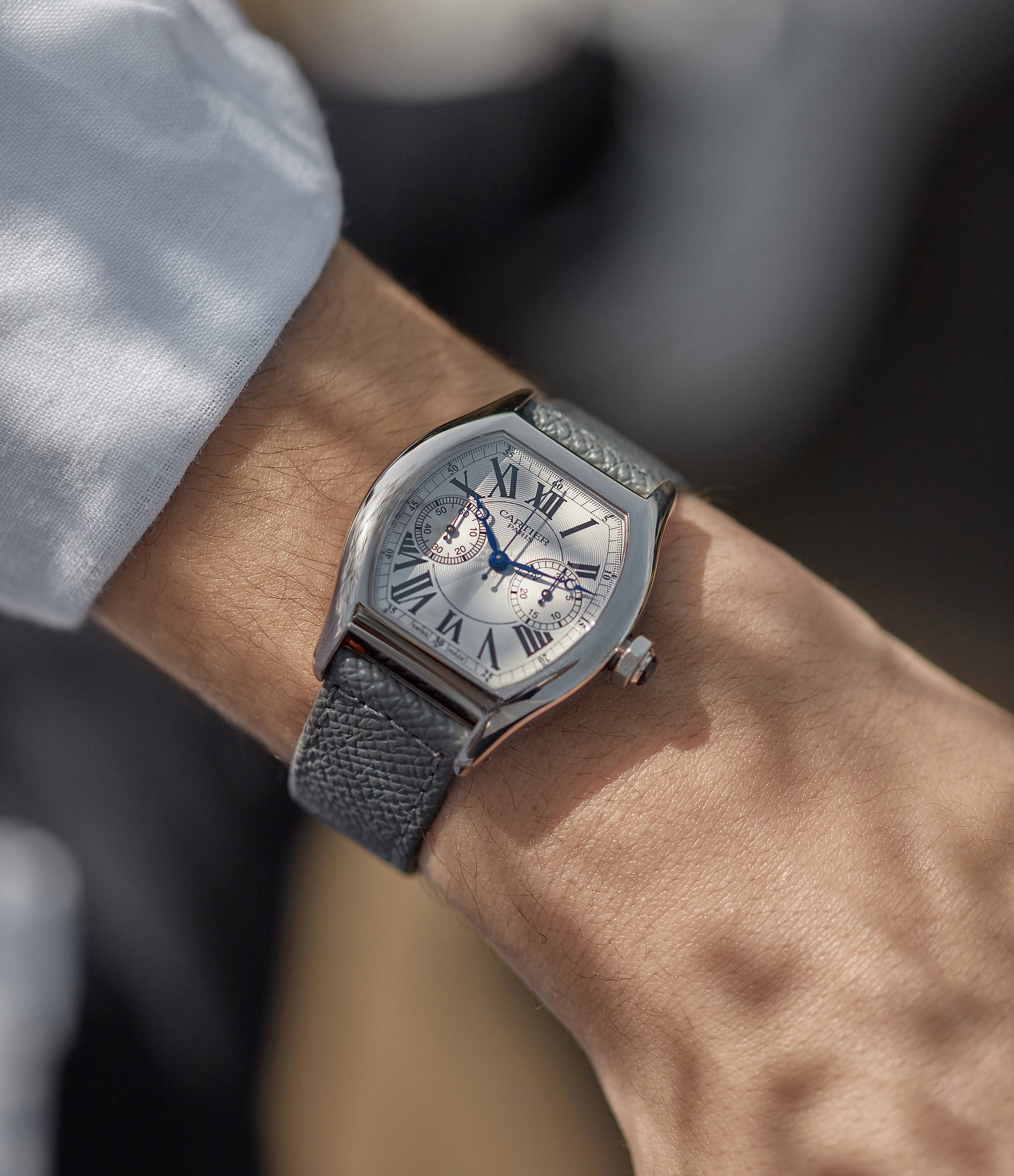 """Cartier CPCP white gold tortue monopusher on wrist In A Collector's Guide to the """"Collection Privée Cartier Paris"""" for A Collected Man London"""
