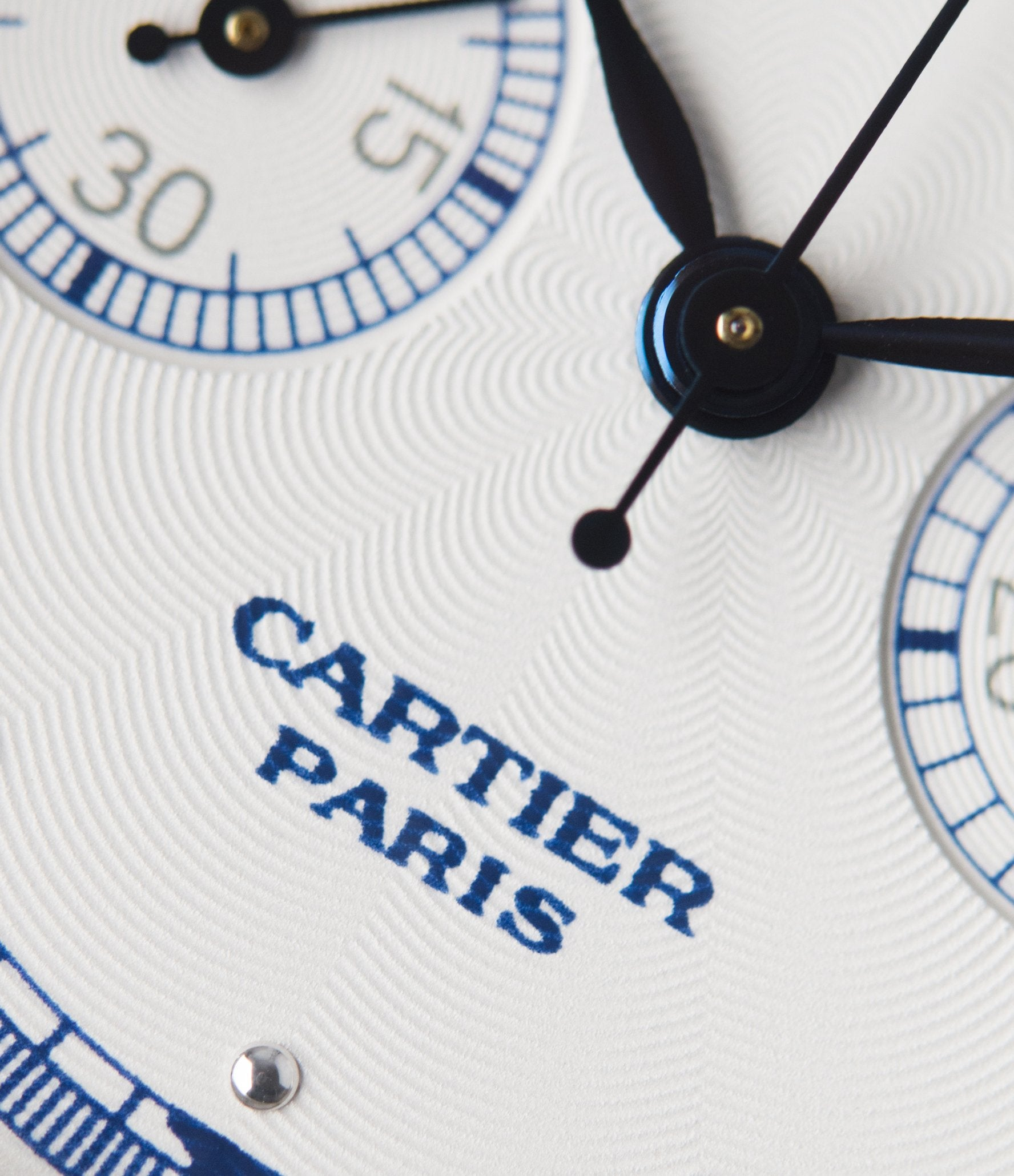 """Cartier CPCP Tortue Monopoussoir guilloche on the dial close-up In A Collector's Guide to the """"Collection Privée Cartier Paris"""" for A Collected Man London"""